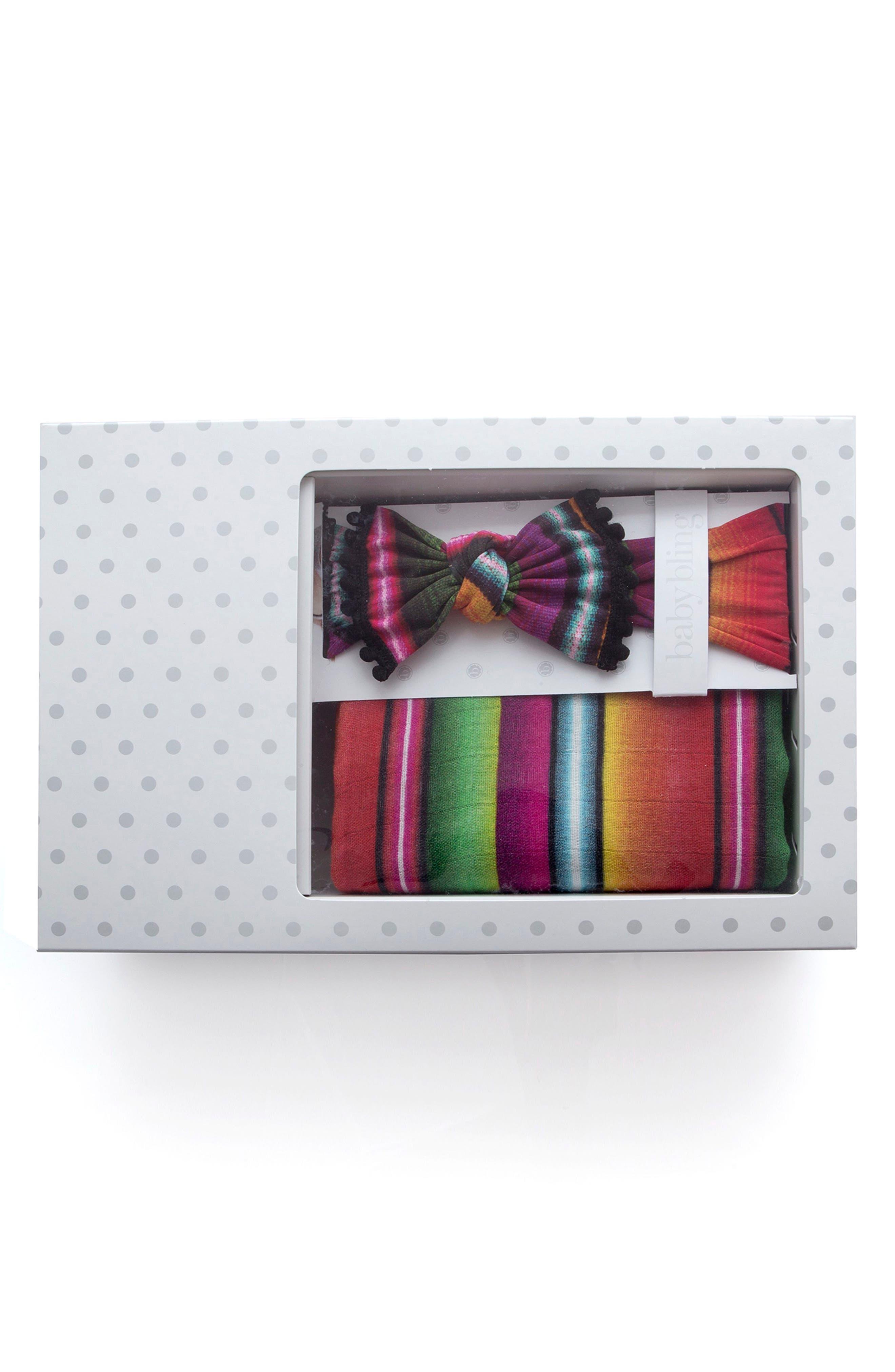 Dot Print Swaddling Blanket & Headband Set,                             Main thumbnail 1, color,                             BAJA BLANKET
