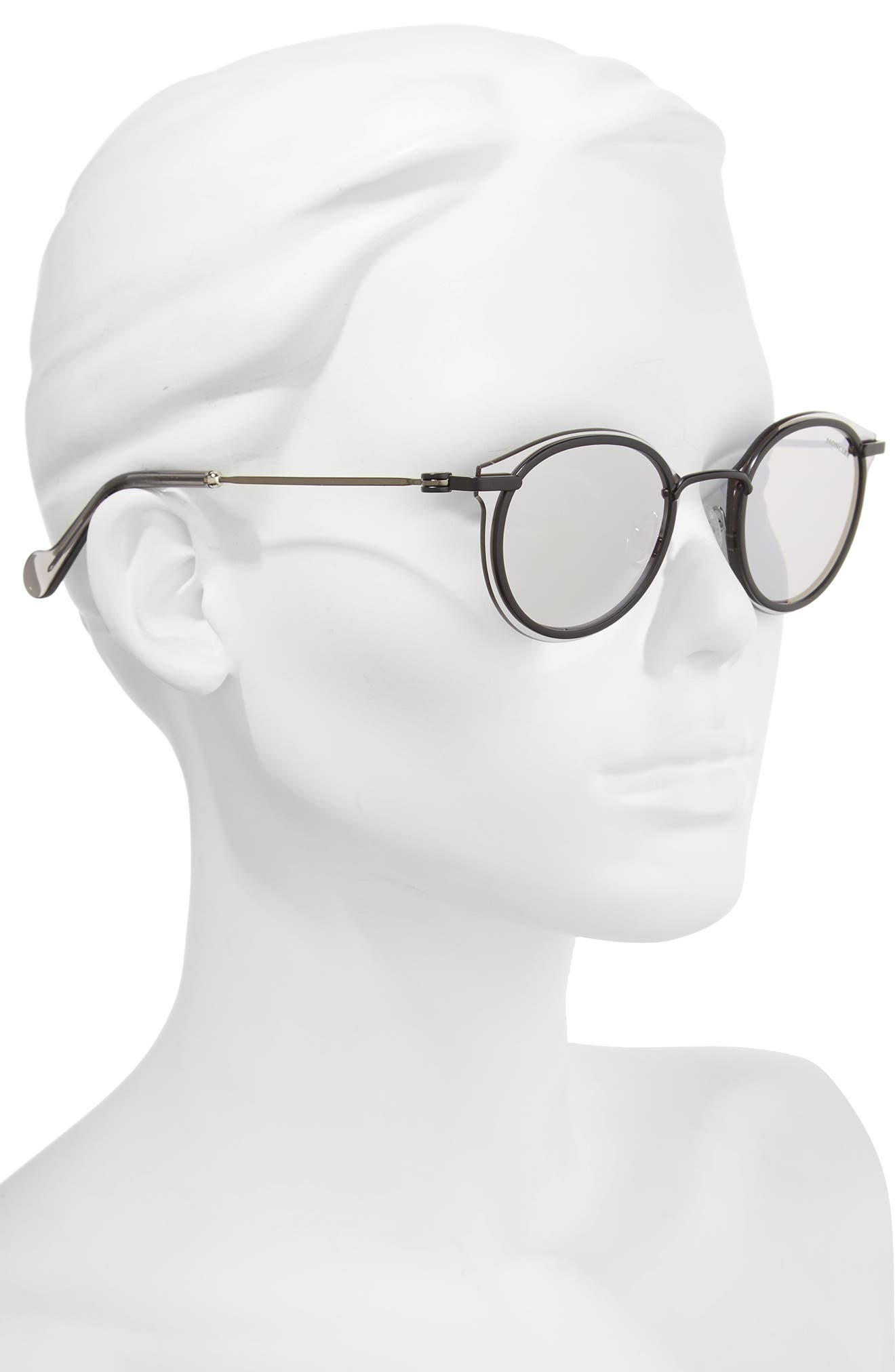 58mm Mirrored Round Sunglasses,                             Alternate thumbnail 2, color,                             001