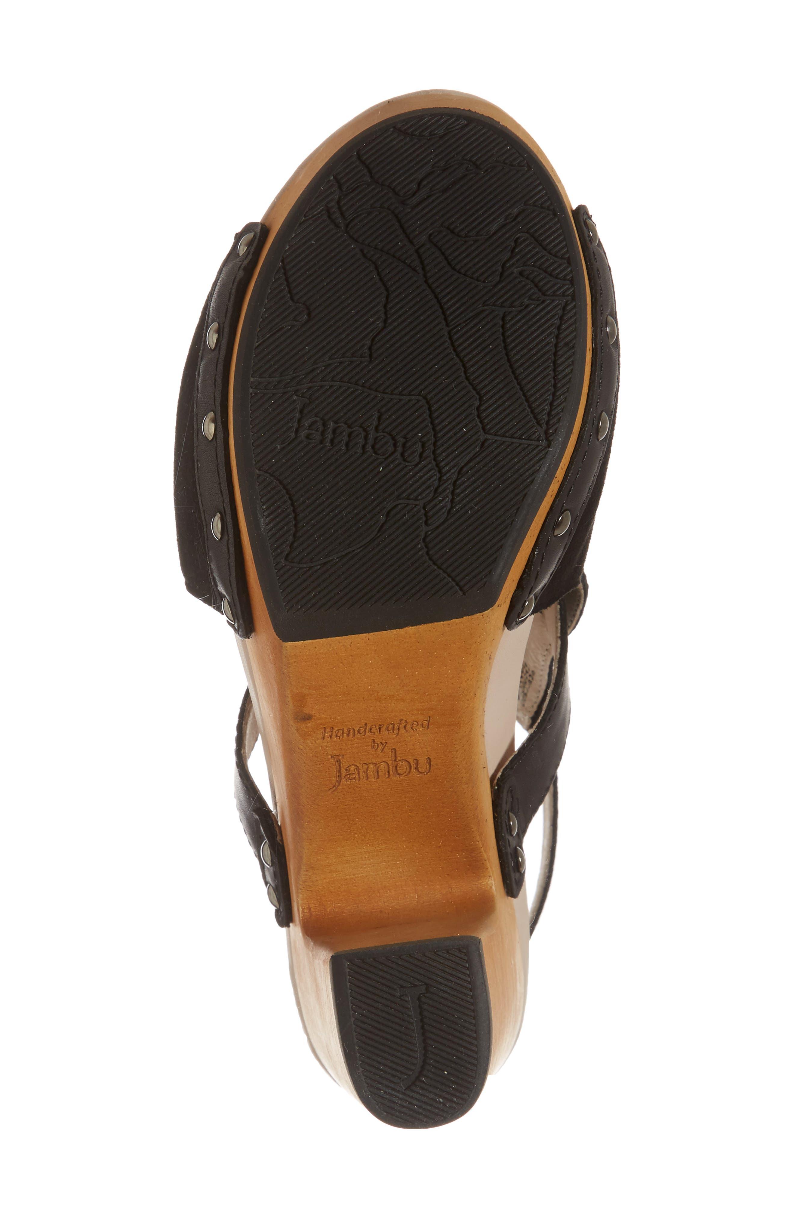 Gina Platform Sandal,                             Alternate thumbnail 6, color,                             BLACK LEATHER