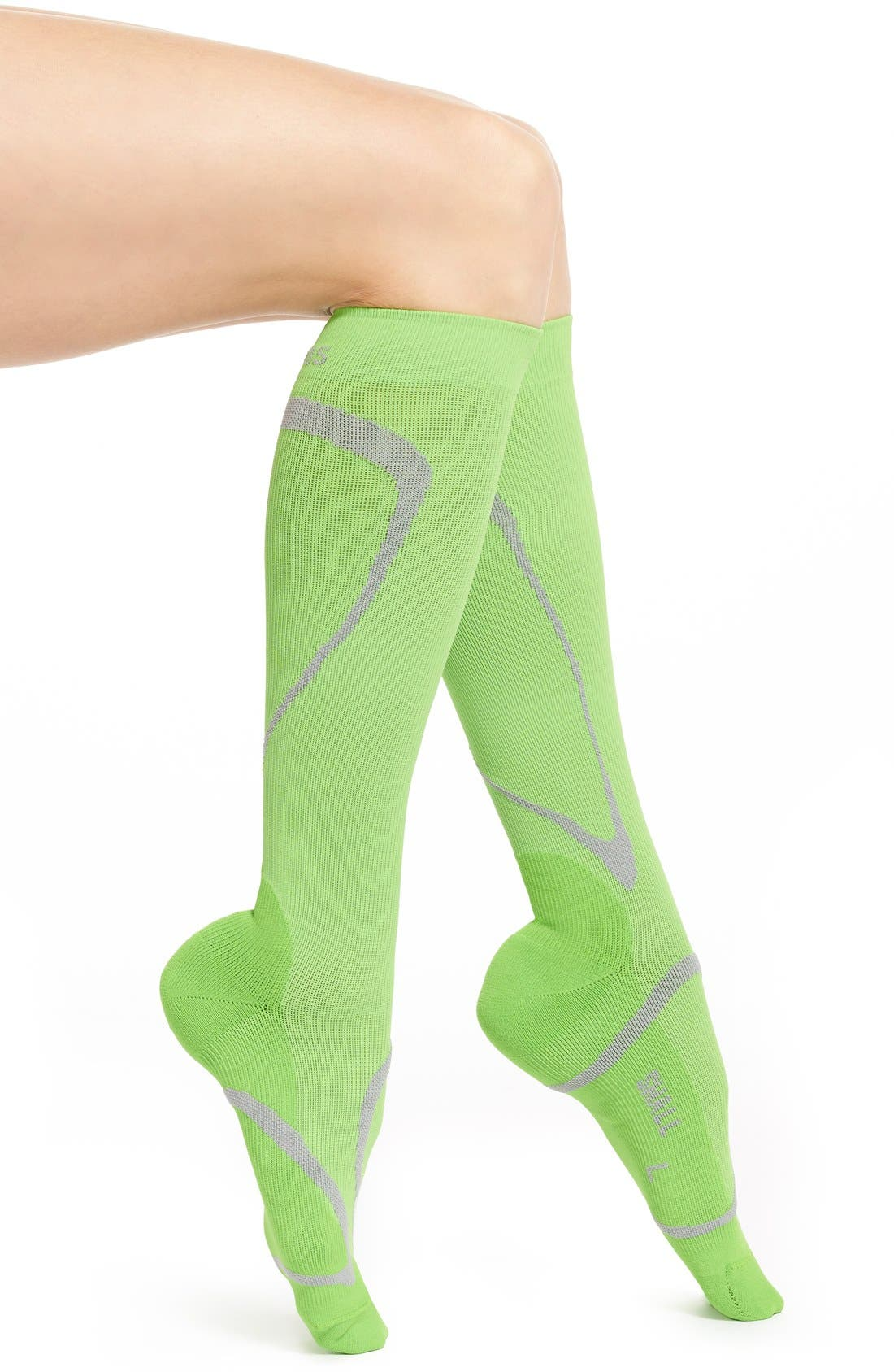 Performance Compression Knee High Socks,                             Main thumbnail 1, color,                             LIME