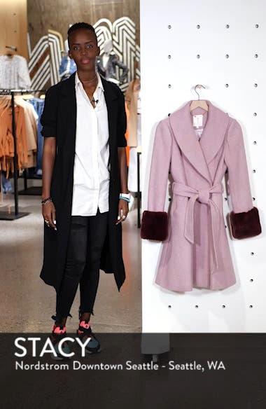 Faux Fur Cuff Skirted Coat, sales video thumbnail