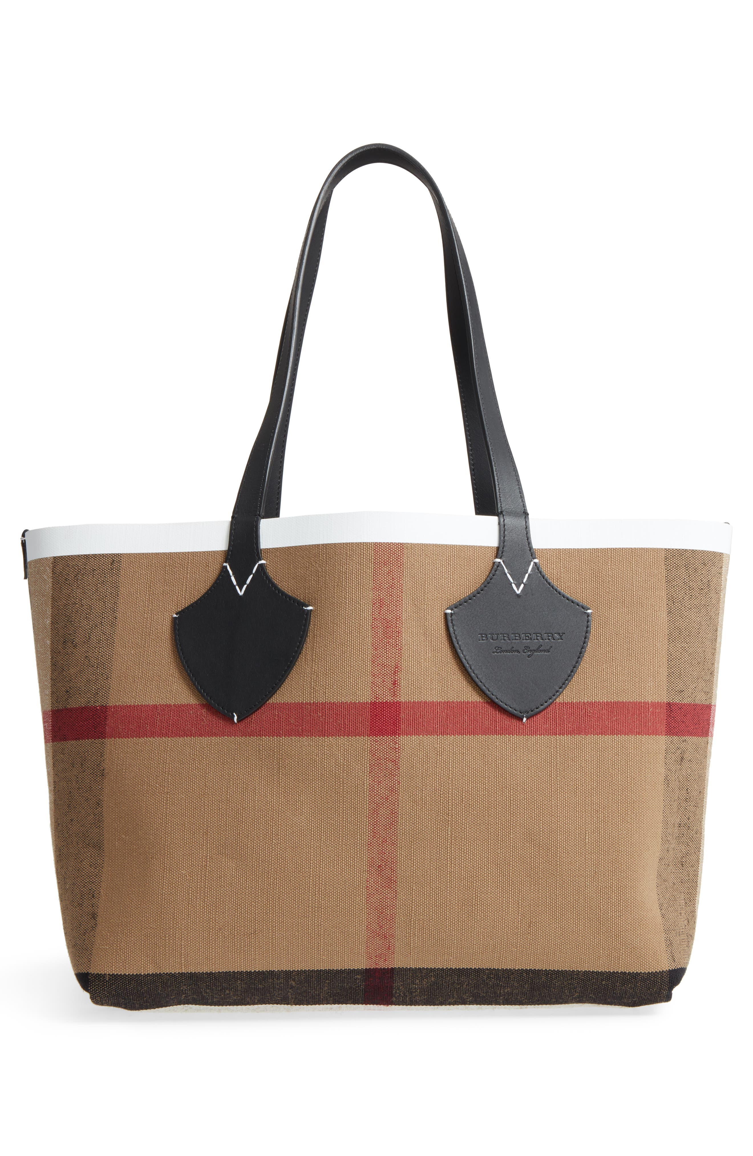 Medium Reversible Leather & Check Canvas Tote,                             Alternate thumbnail 3, color,                             100