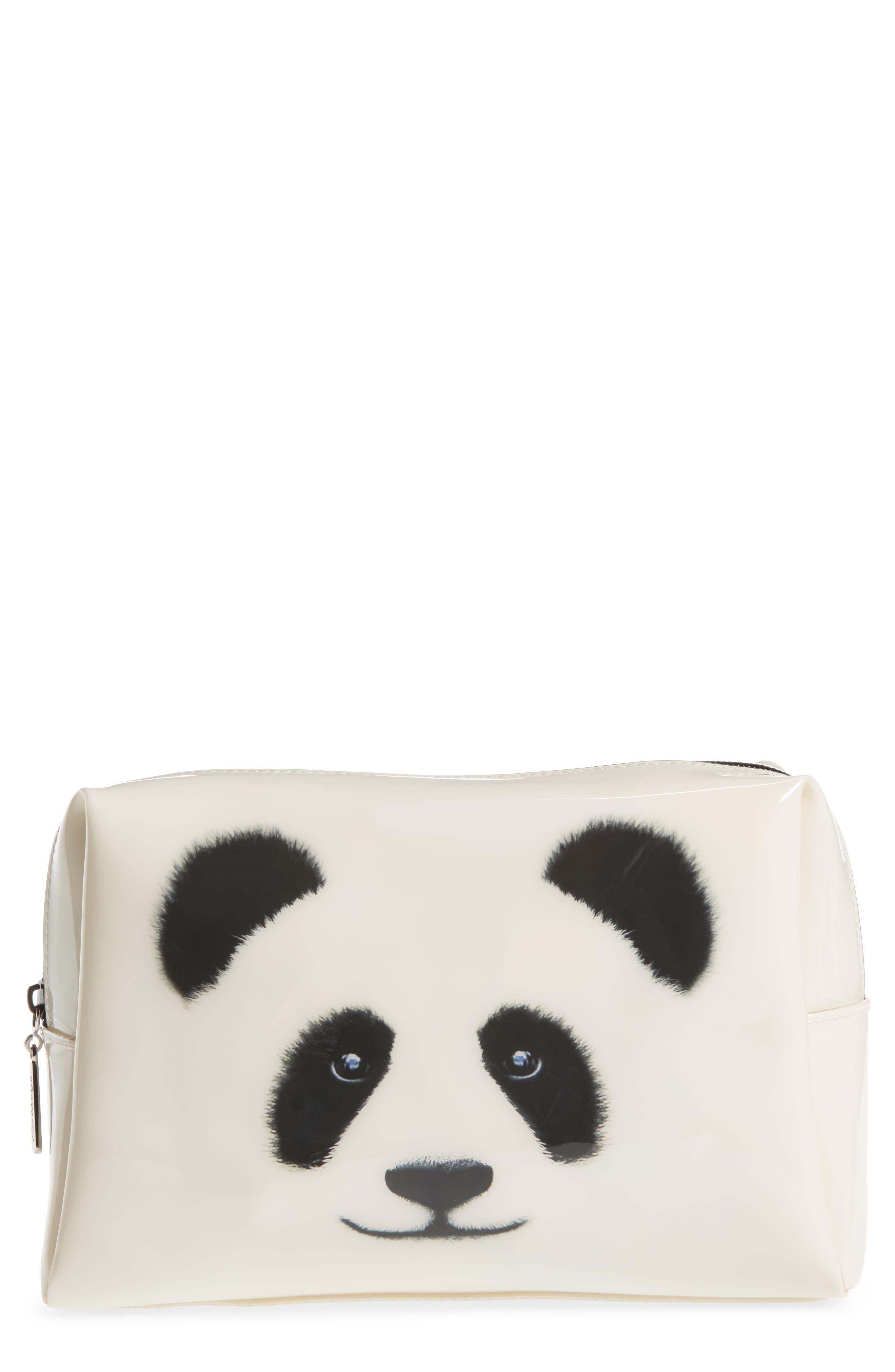 Big Face Panda Large Cosmetics Bag,                             Main thumbnail 1, color,                             100