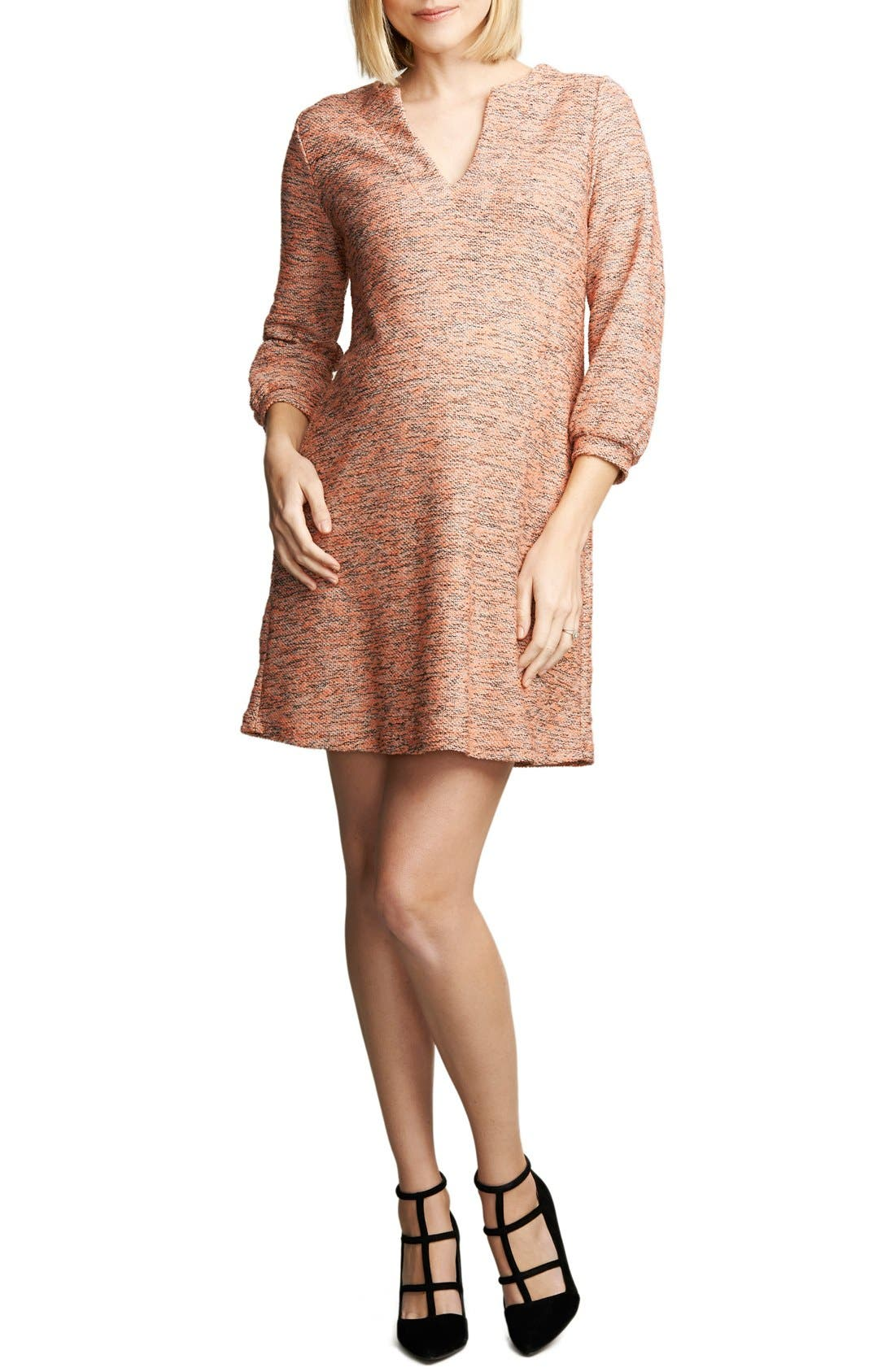 Shift Maternity Dress,                             Main thumbnail 1, color,                             PINK BOUCLE