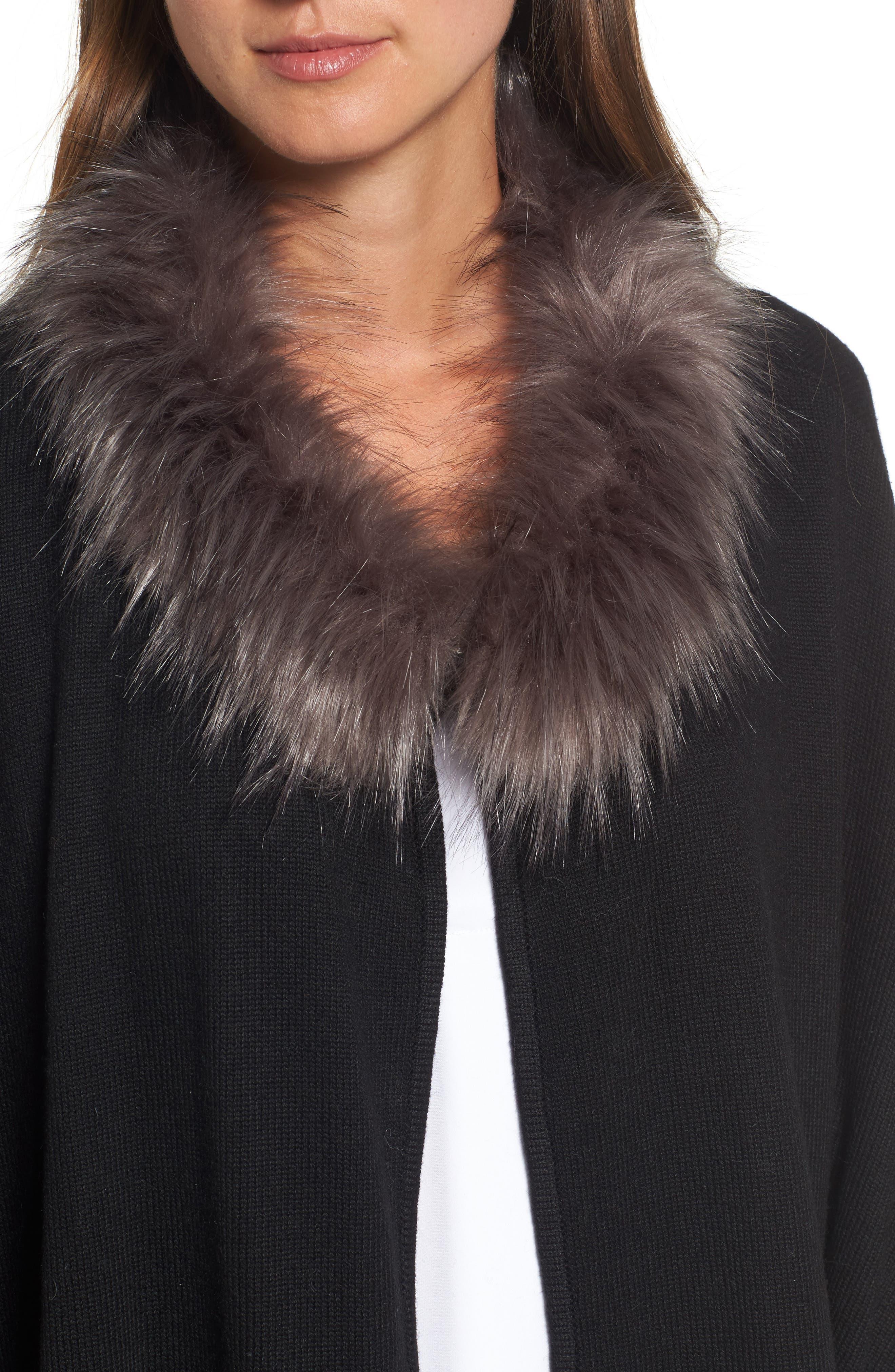Knit Poncho with Faux Fur Trim,                             Alternate thumbnail 4, color,                             001