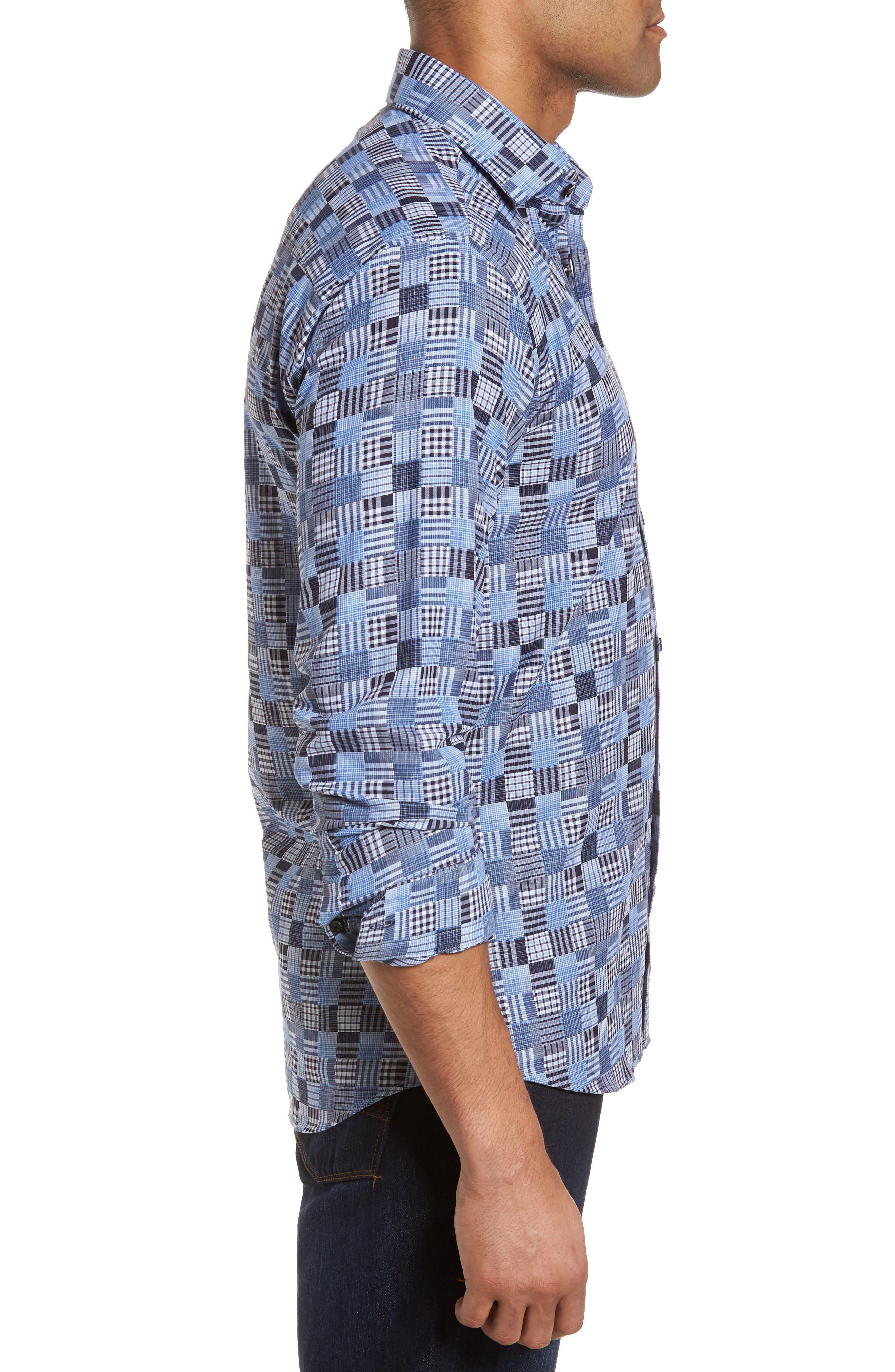 Slim Fit Madras Sport Shirt,                             Alternate thumbnail 3, color,                             485