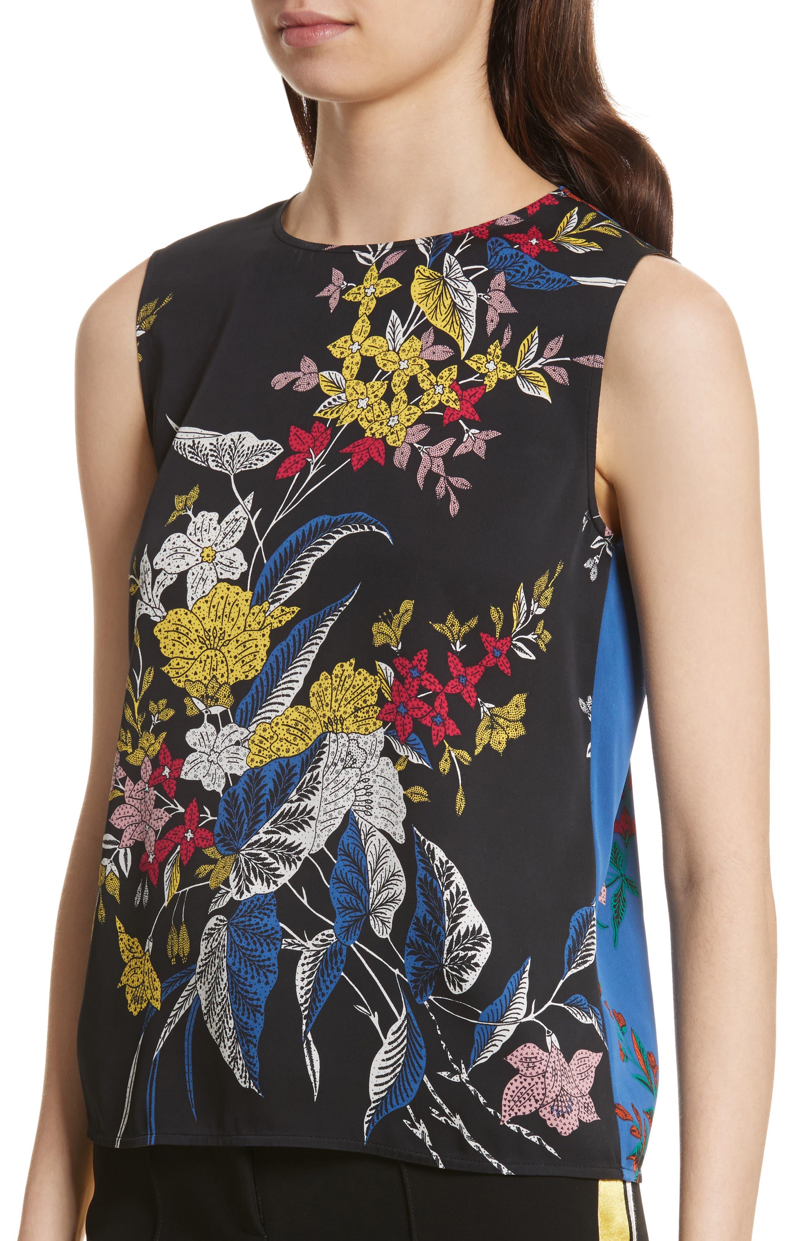 Diane von Furstenberg Floral Print Silk Shell,                             Alternate thumbnail 4, color,                             002