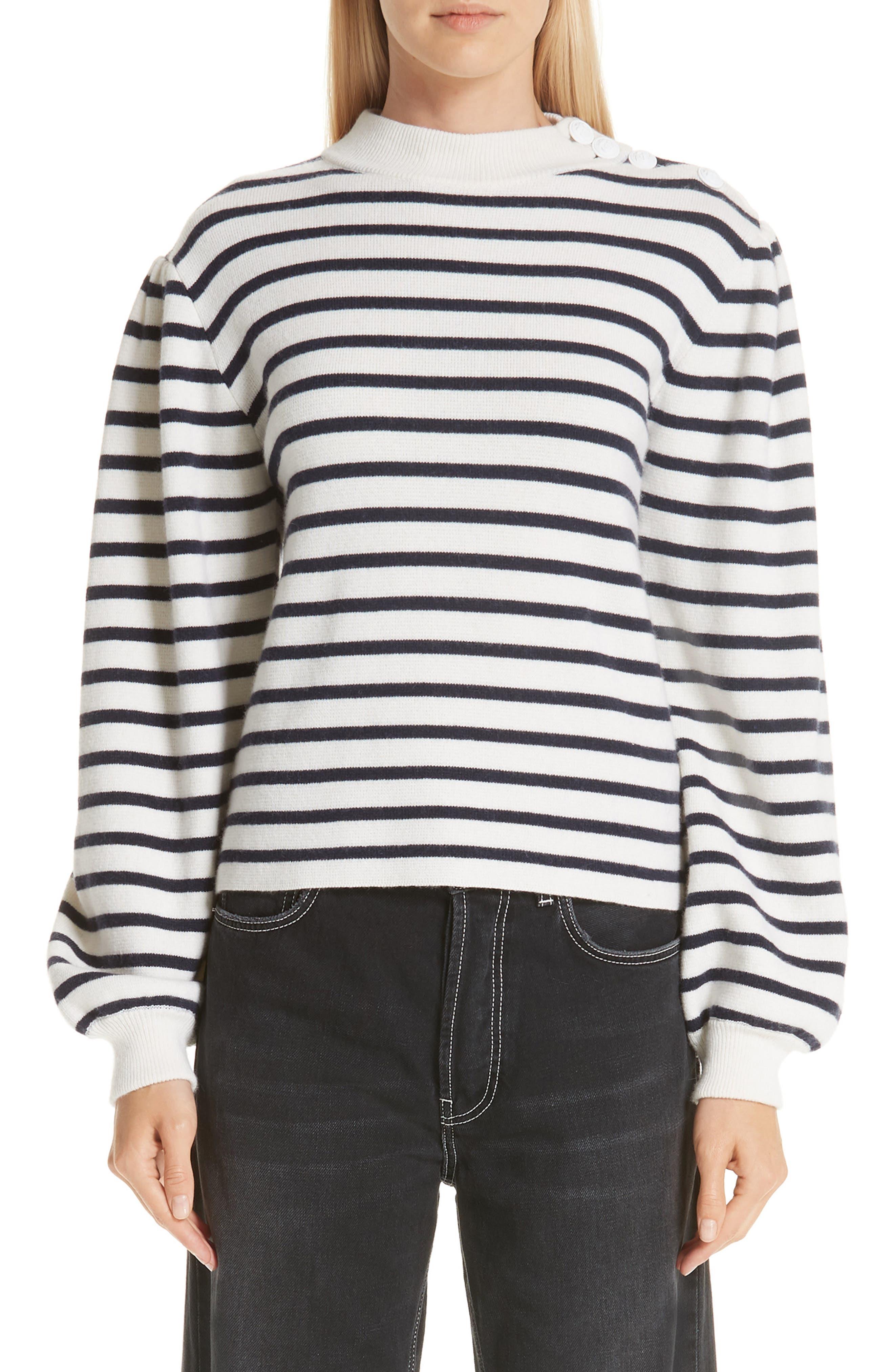 Stripe Knit Sweater, Main, color, EGRET 135