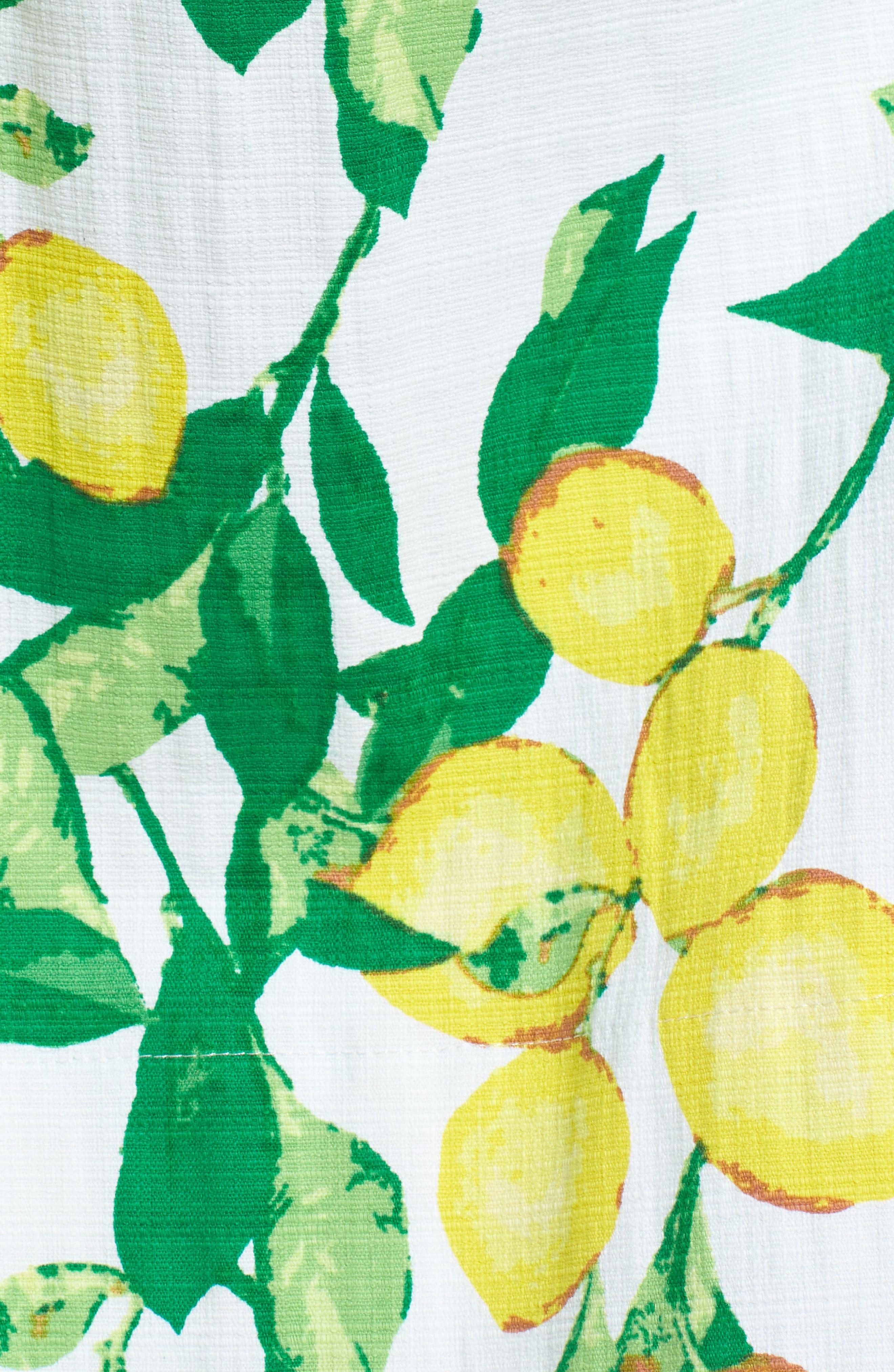 Button Front Lemon Print Dress,                             Alternate thumbnail 6, color,                             700