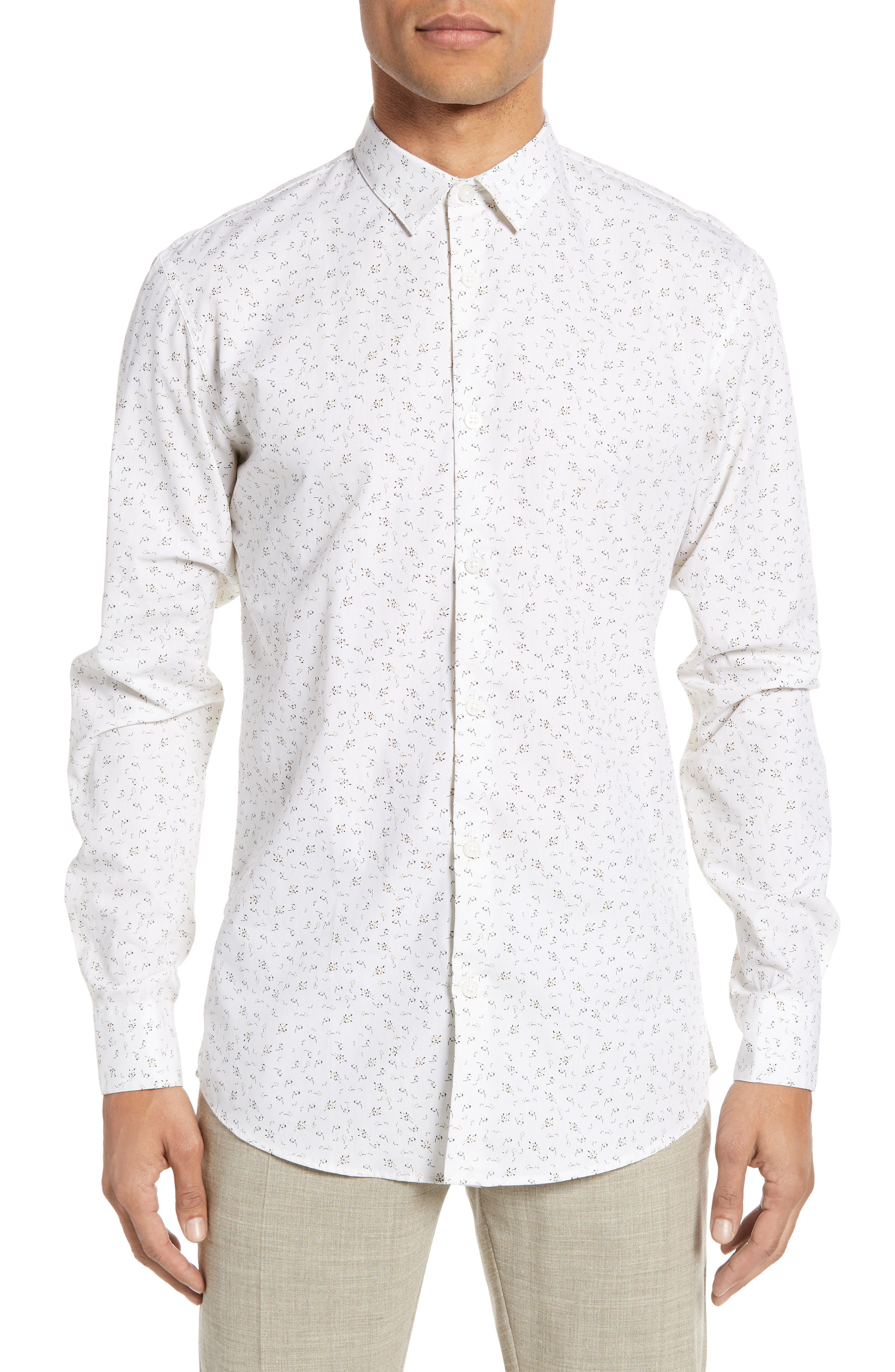 Selected Homme Rune Slim Fit Print Sport Shirt, White
