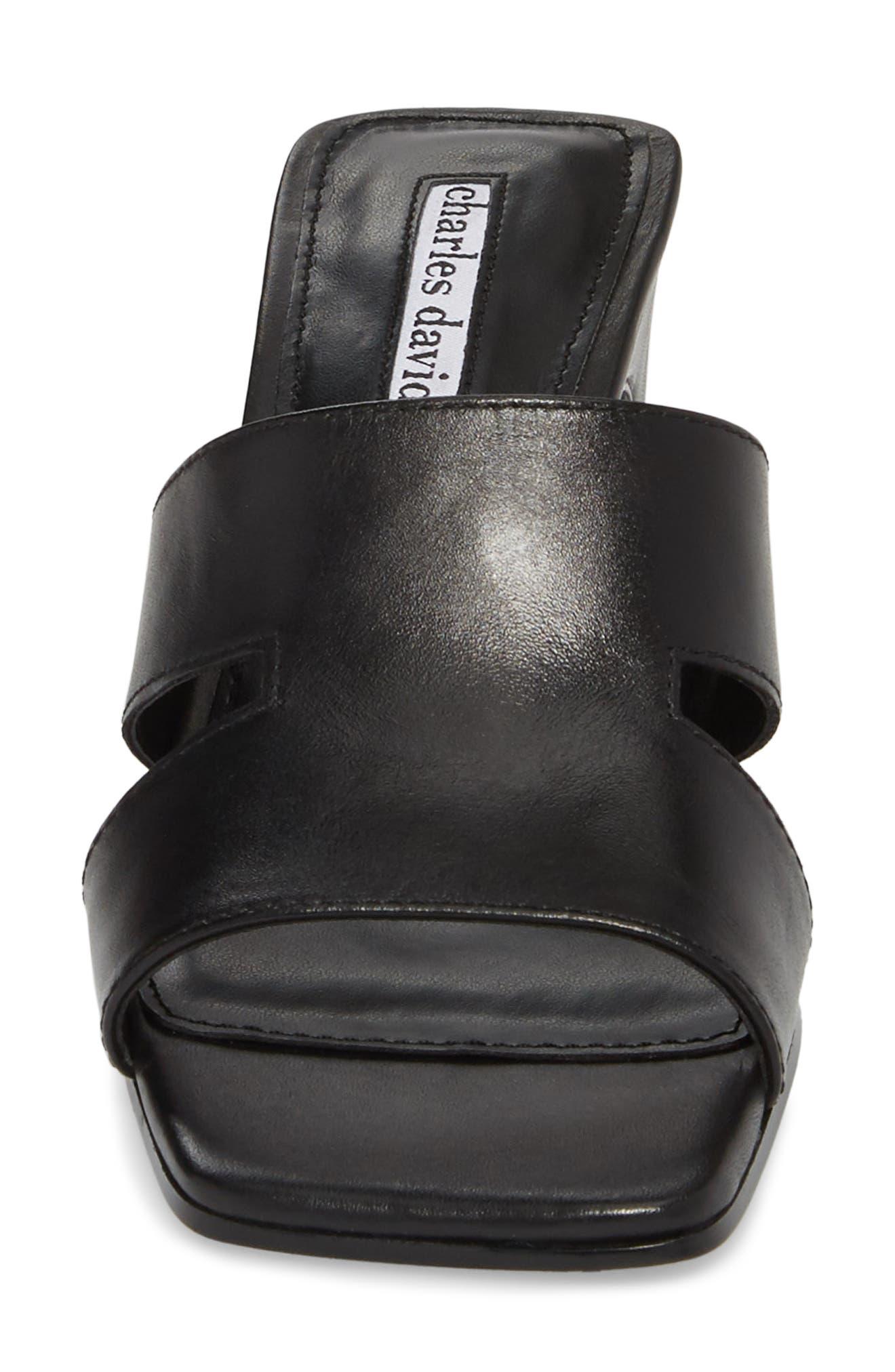Harley Slide Sandal,                             Alternate thumbnail 4, color,                             BLACK LEATHER