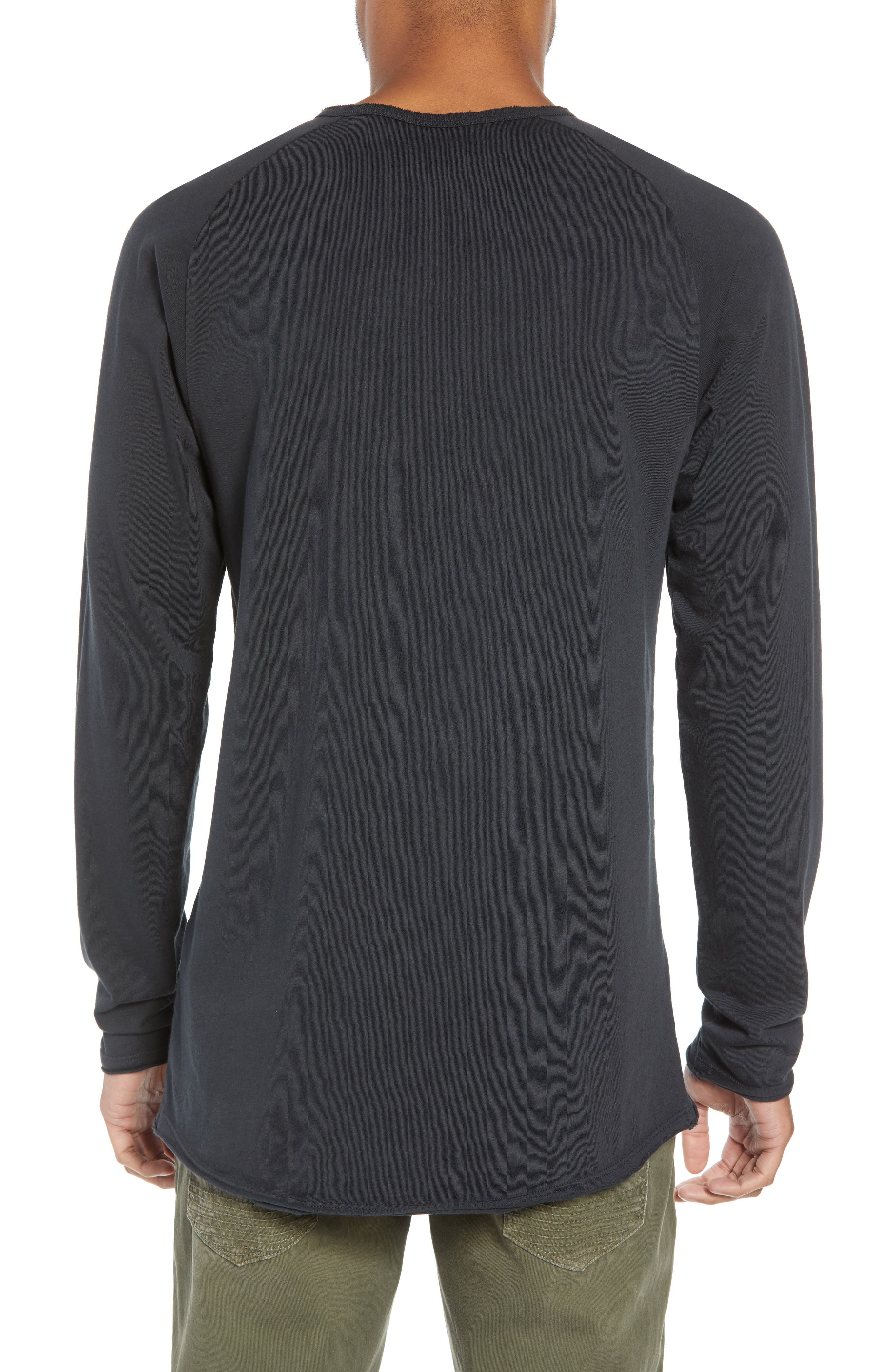 Hudson Elongated Long Sleeve T-Shirt,                             Alternate thumbnail 2, color,                             BLACK