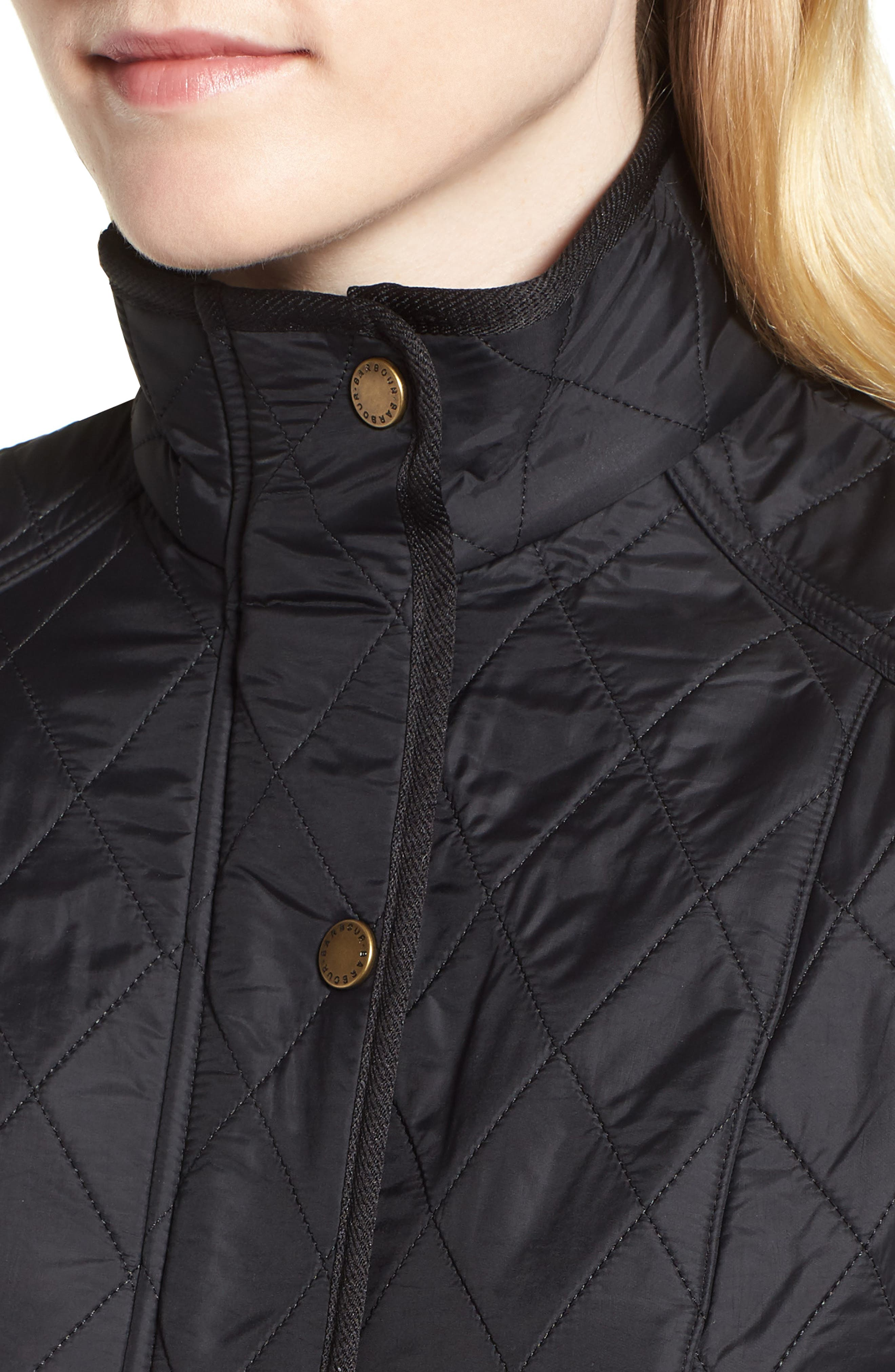 'Cavalry' Quilted Vest,                             Alternate thumbnail 4, color,                             BLACK/ BLACK