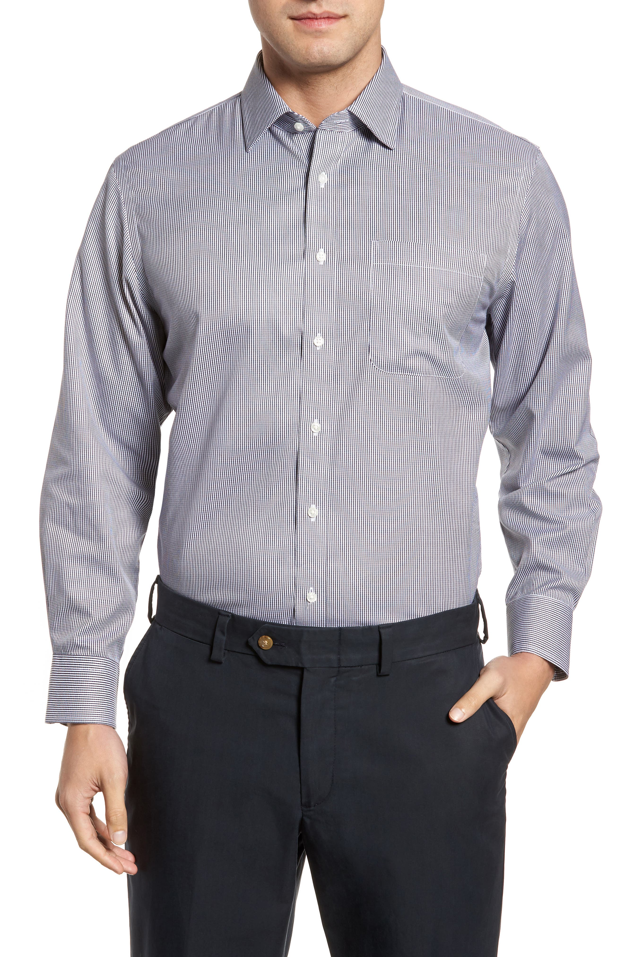 Smartcare<sup>™</sup> Traditional Fit Stripe Dress Shirt,                         Main,                         color,