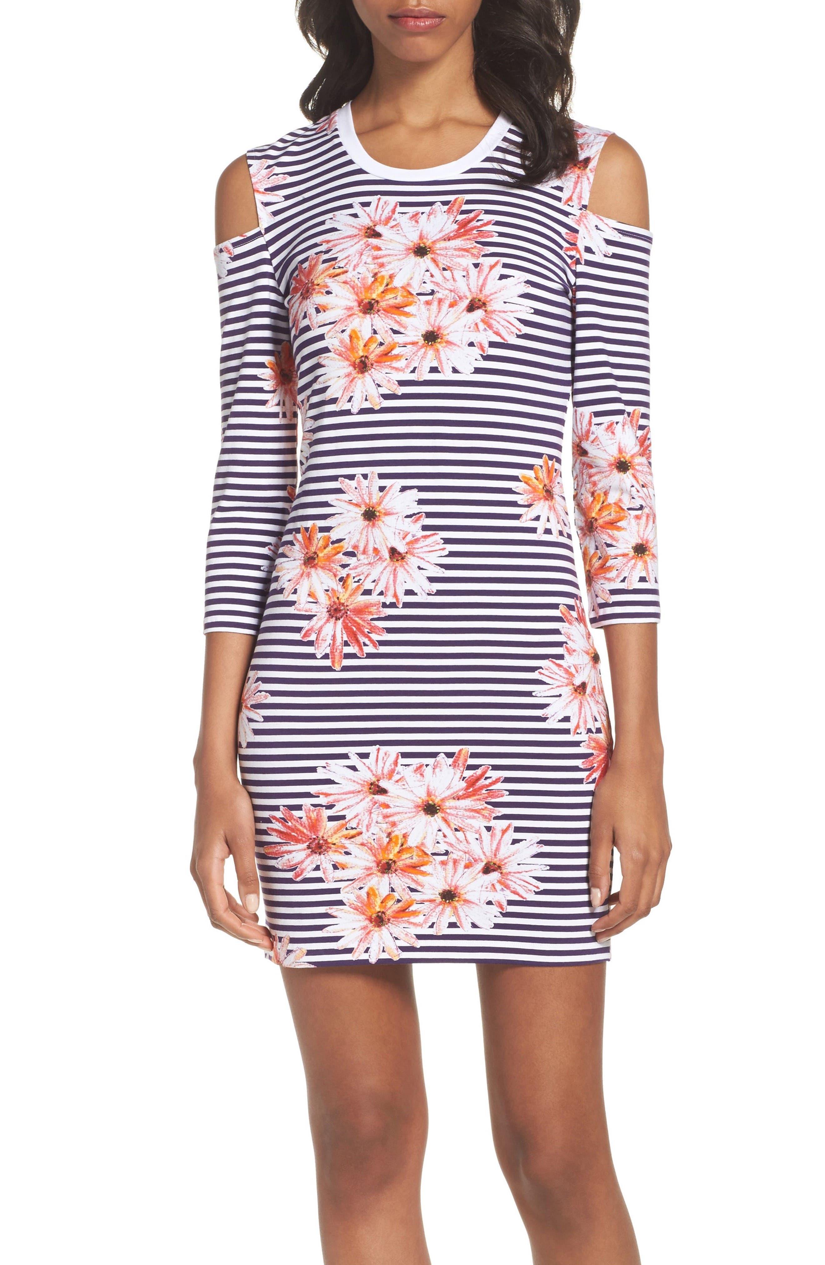 Samba Cold Shoulder Sheath Dress,                         Main,                         color, 652
