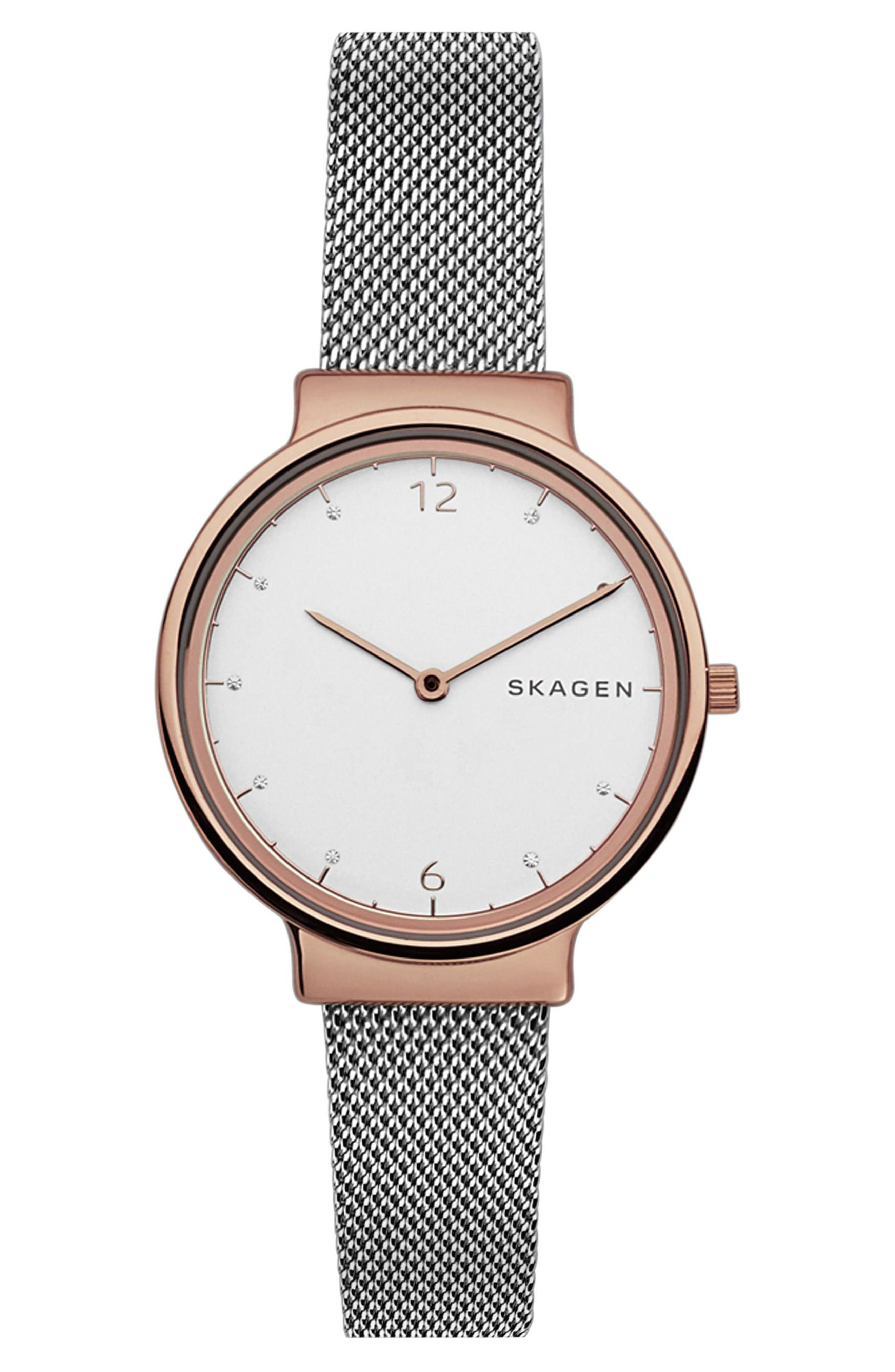 Ancher Crystal Mesh Strap Watch, 34mm,                         Main,                         color, SILVER/ ROSE GOLD