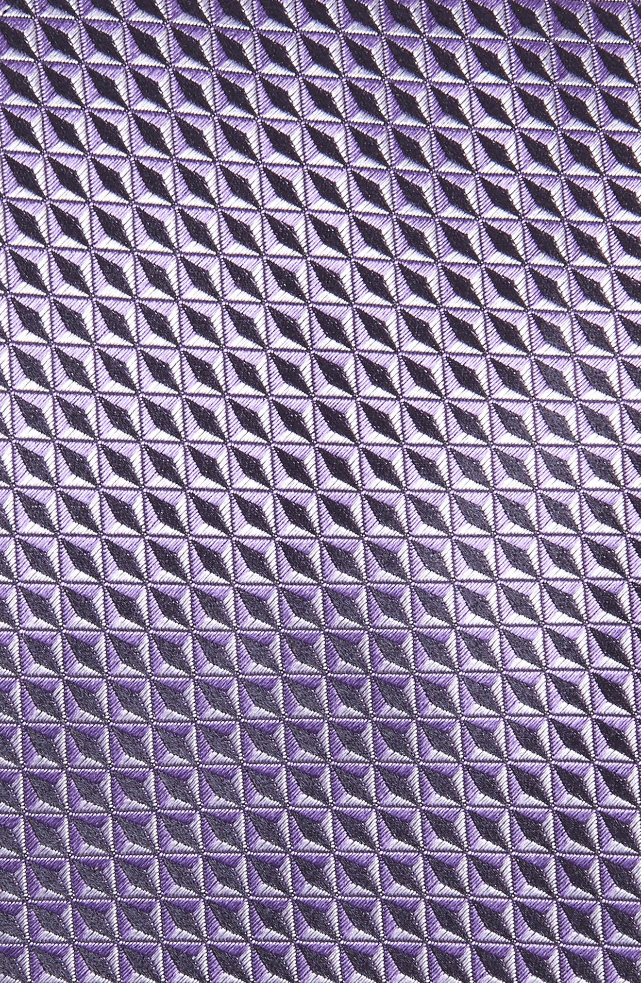 Geometric Silk X-Long Tie,                             Alternate thumbnail 2, color,                             LIGHT PURPLE