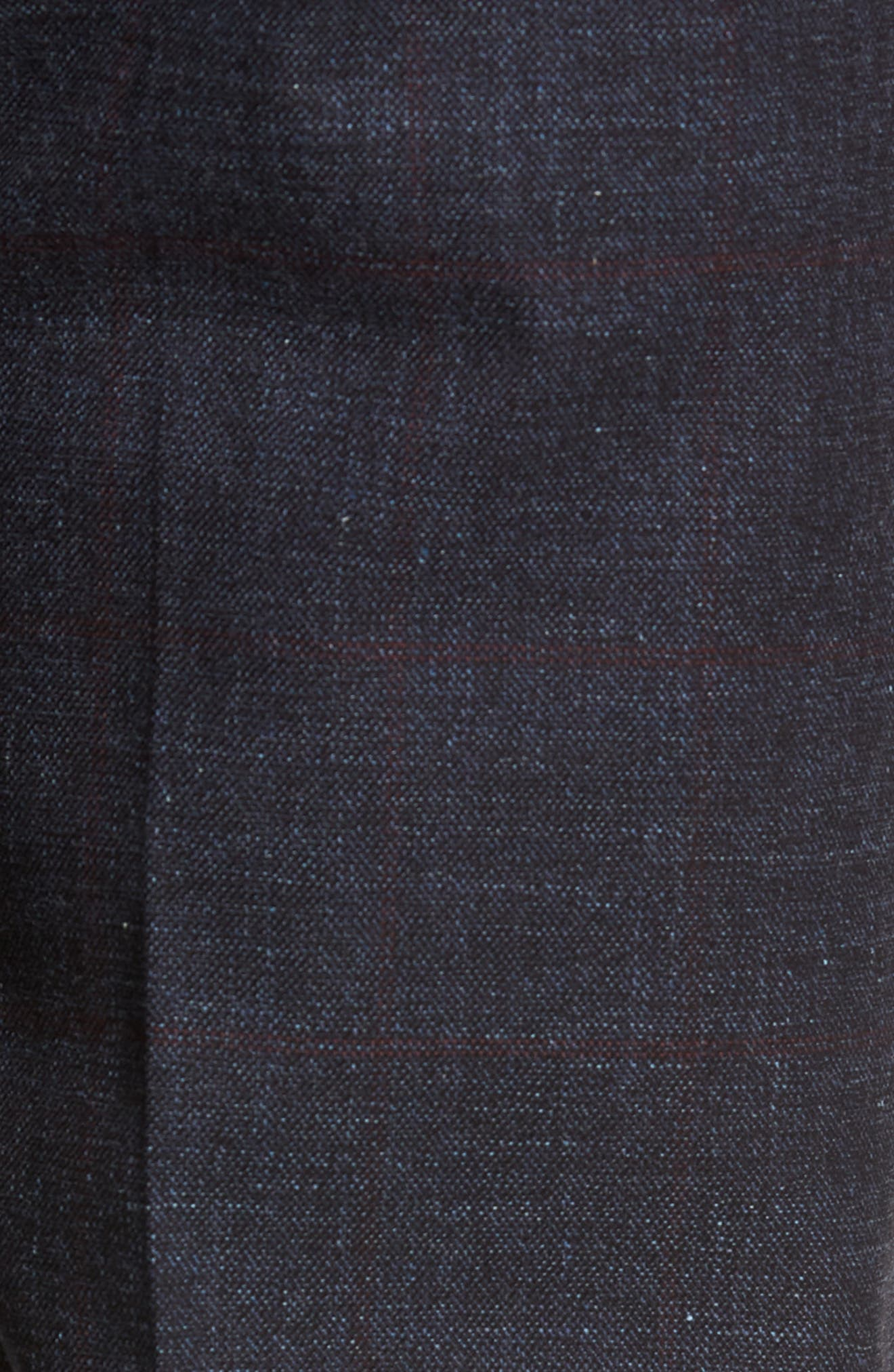 Flat Front Windowpane Stretch Cotton Trousers,                             Alternate thumbnail 5, color,                             NAVY