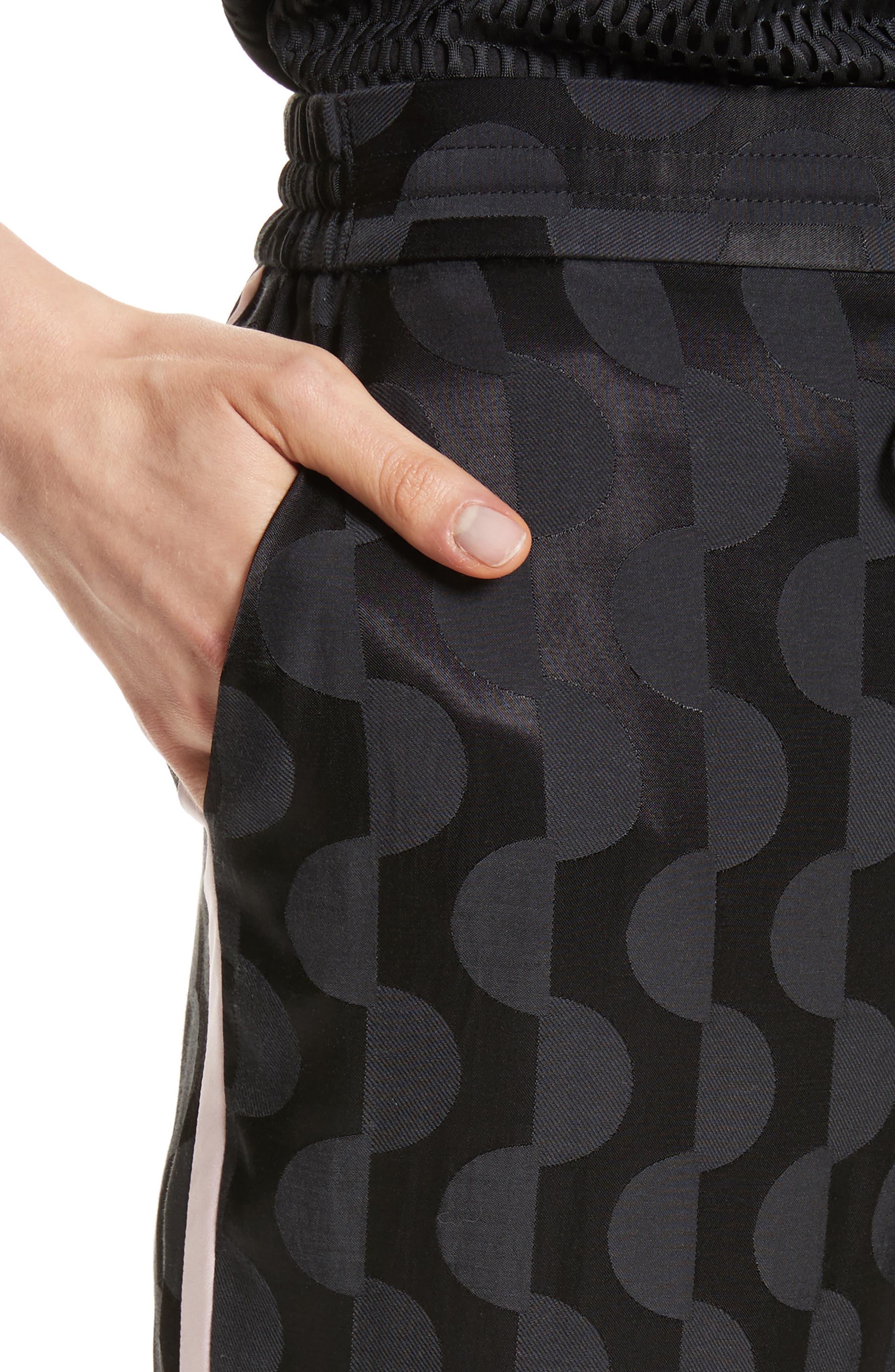 Contrast Stripe Charmeuse Pants,                             Alternate thumbnail 4, color,                             001