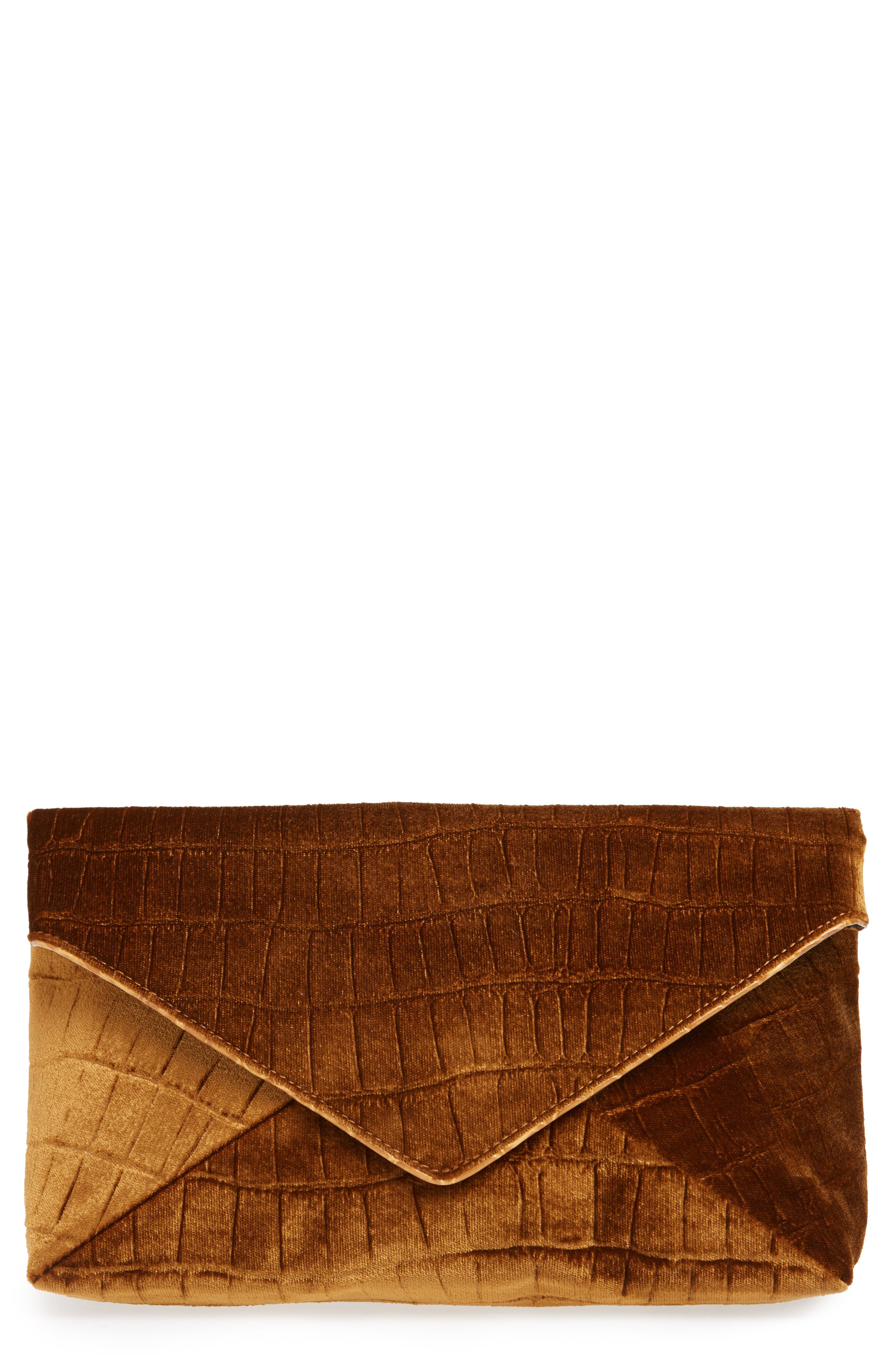 Velvet Envelope Clutch,                             Main thumbnail 1, color,                             TAN
