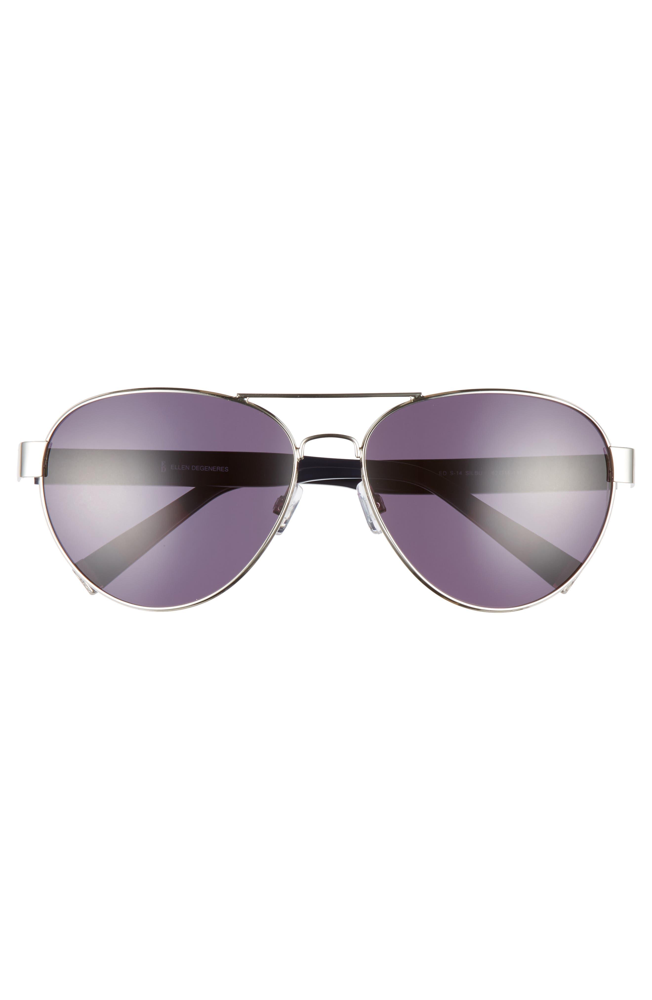62mm Oversize Aviator Sunglasses,                             Alternate thumbnail 3, color,                             SILVER BLUE