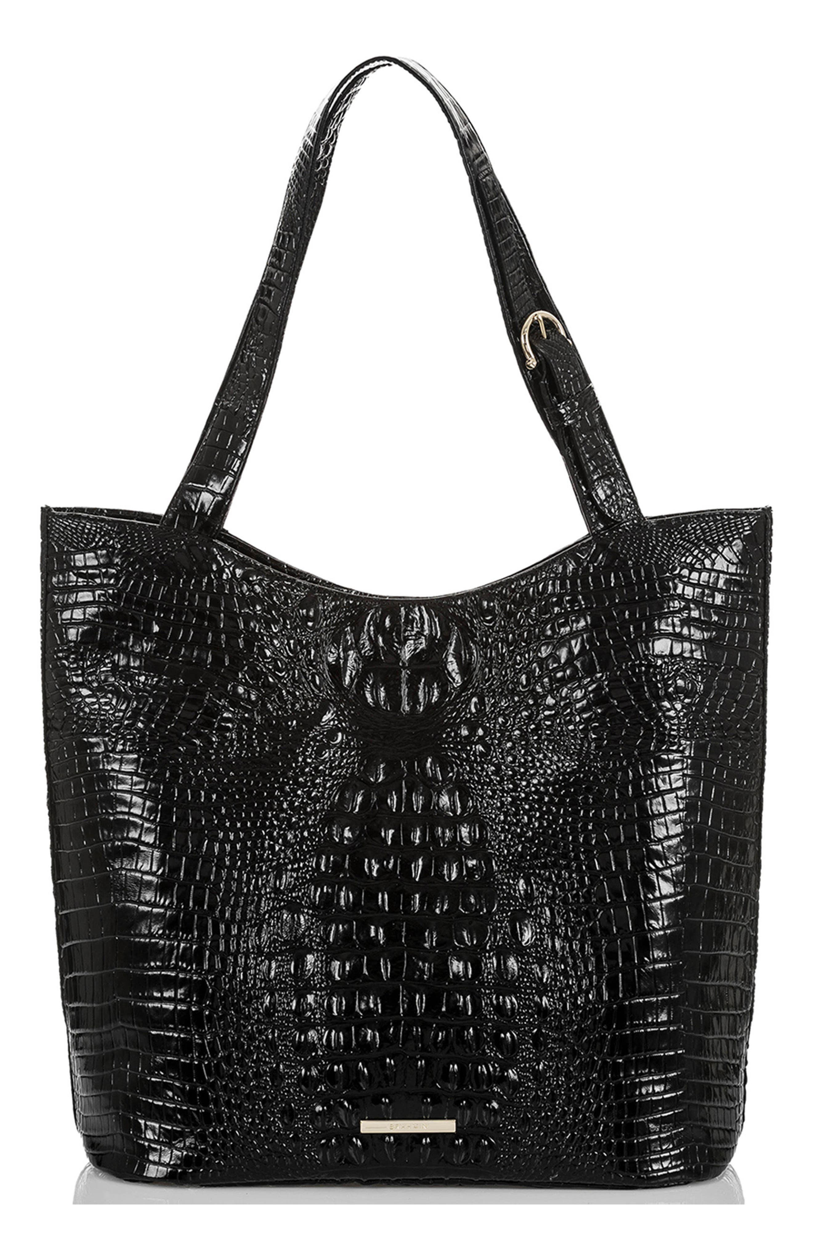 Brayden Croc Embossed Leather Tote,                             Main thumbnail 1, color,                             BLACK