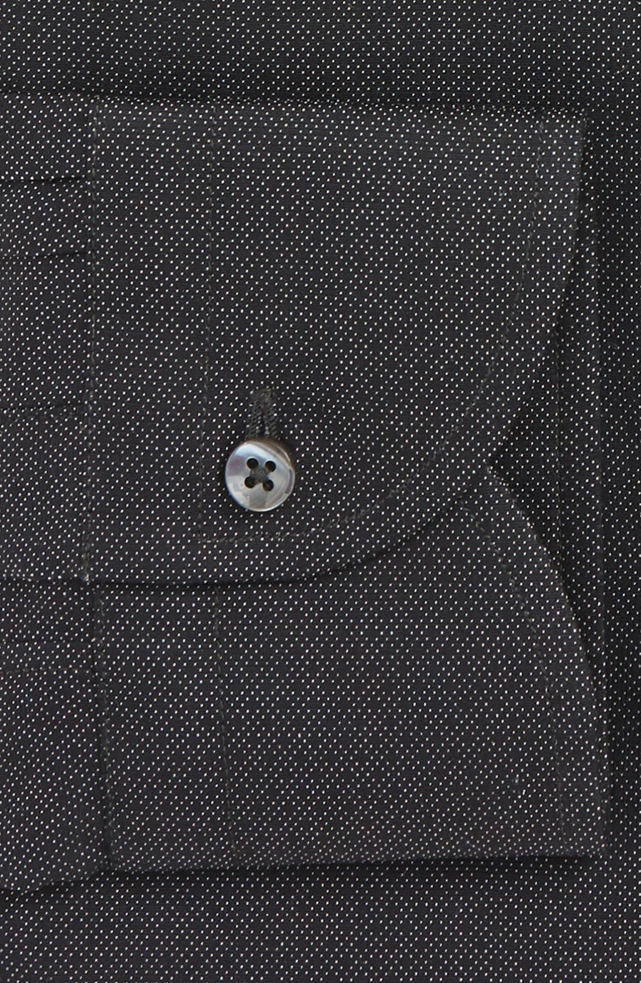 Slim Fit Print Dress Shirt,                             Alternate thumbnail 2, color,                             BLACK