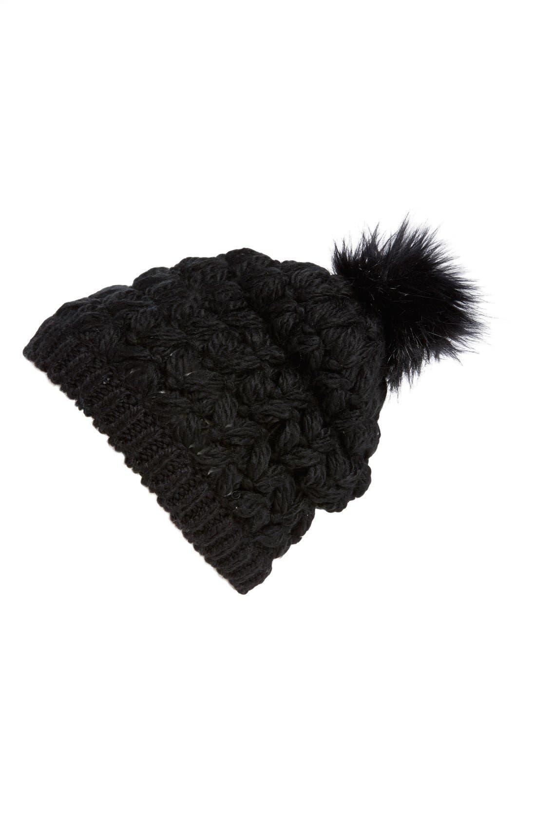 Crochet Pompom Beanie,                             Main thumbnail 1, color,                             001