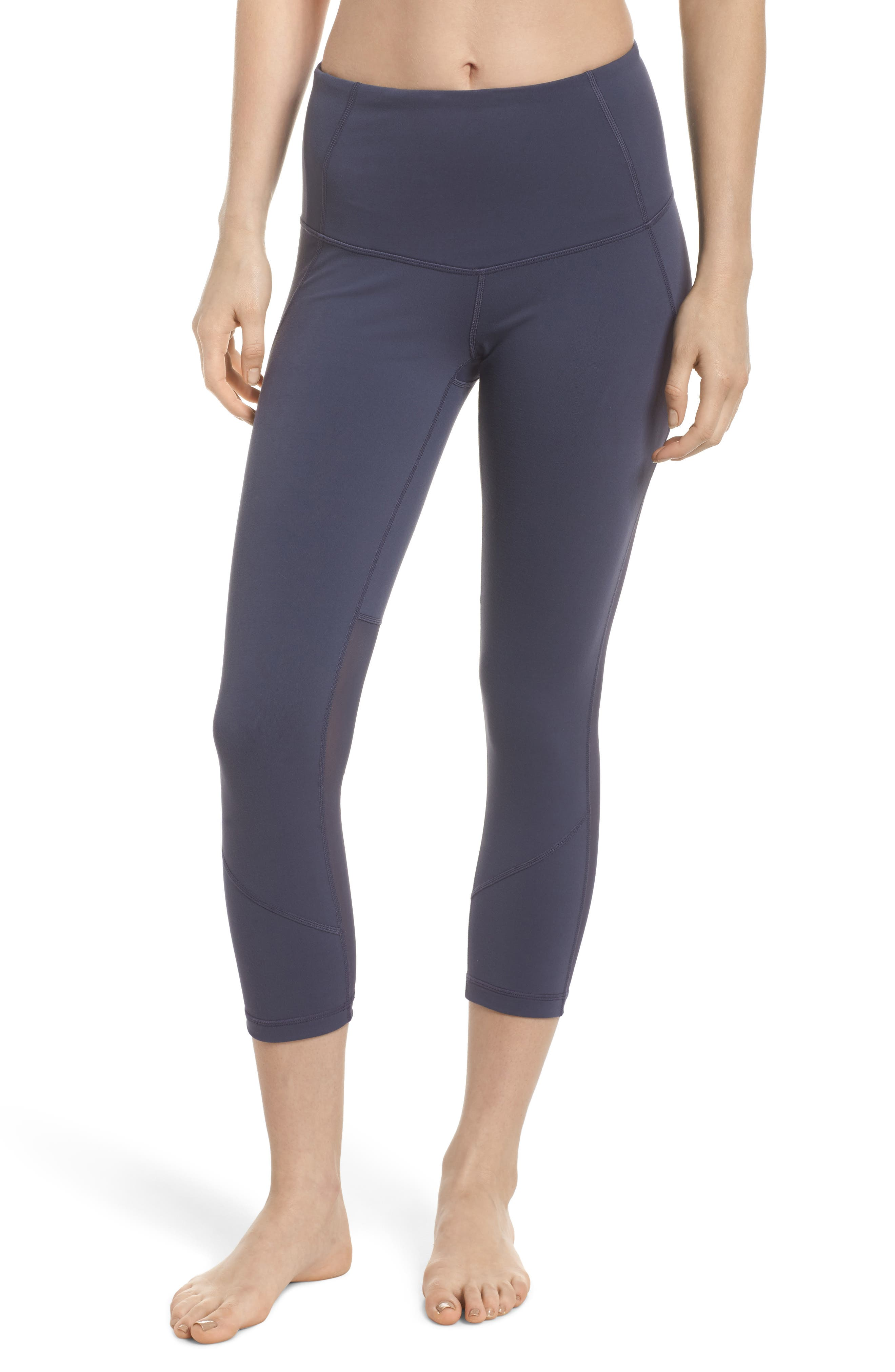 'Live In - Sultry' High Waist Mesh Crop Leggings,                             Main thumbnail 3, color,