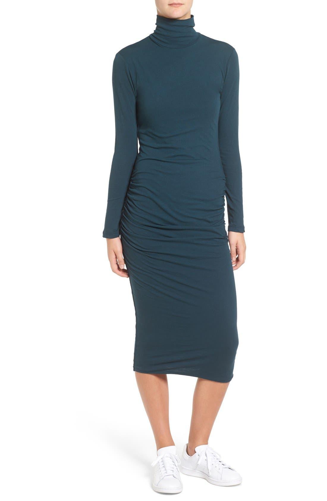 Turtleneck Midi Dress,                             Main thumbnail 2, color,