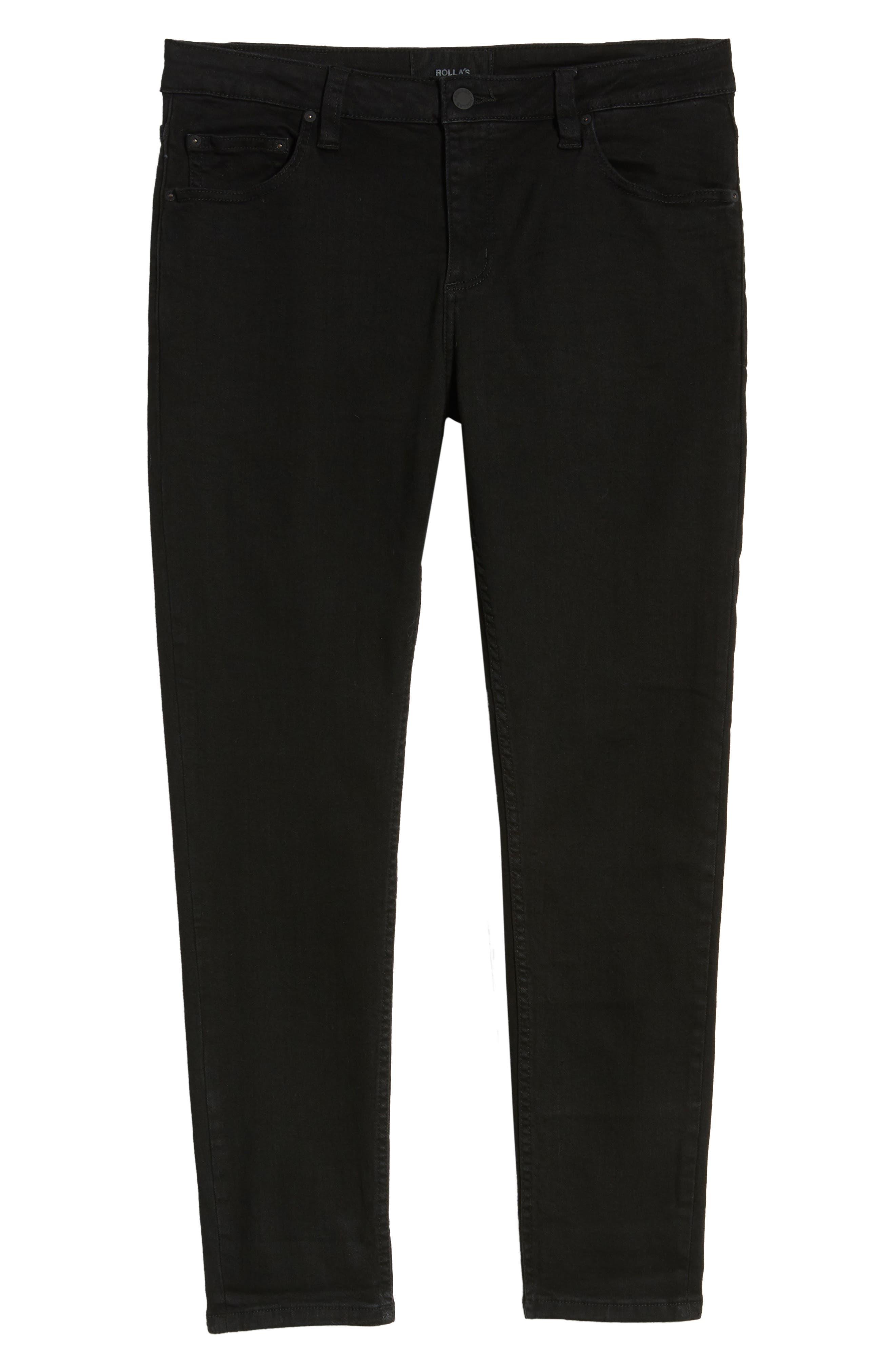 ROLLA'S,                             Rollies Slim Fit Jeans,                             Alternate thumbnail 4, color,                             BLACK RAVEN
