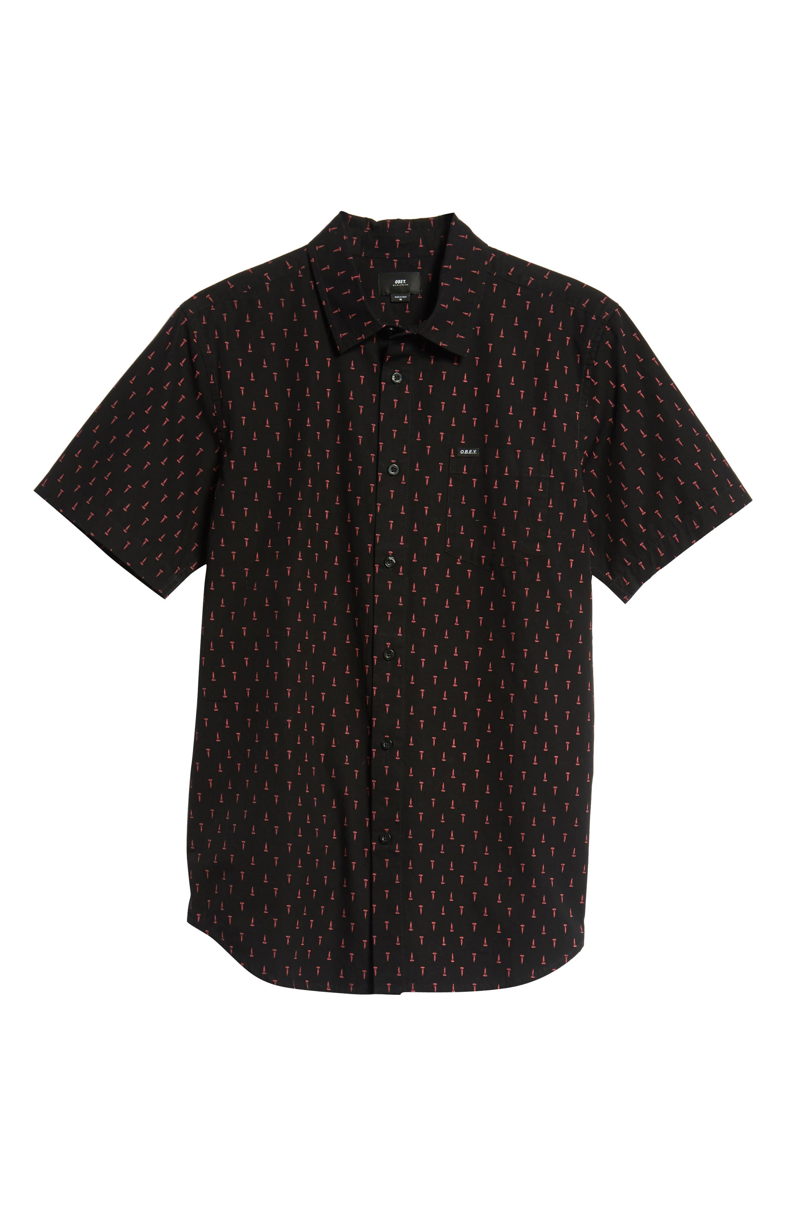 Screw Print Woven Shirt,                             Alternate thumbnail 5, color,                             BLACK MULTI