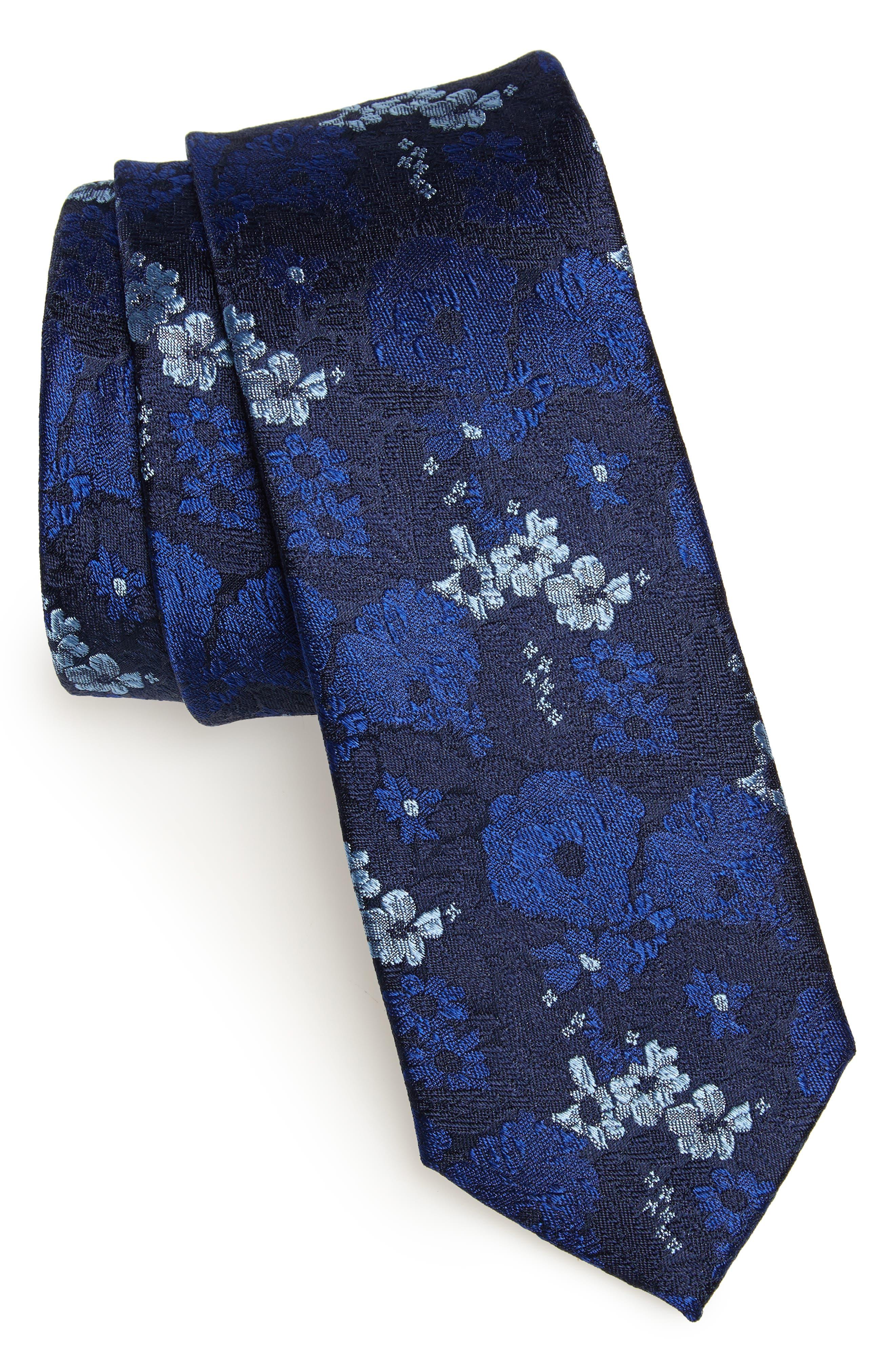 Jerin Floral Silk Tie,                         Main,                         color, DARK NAVY