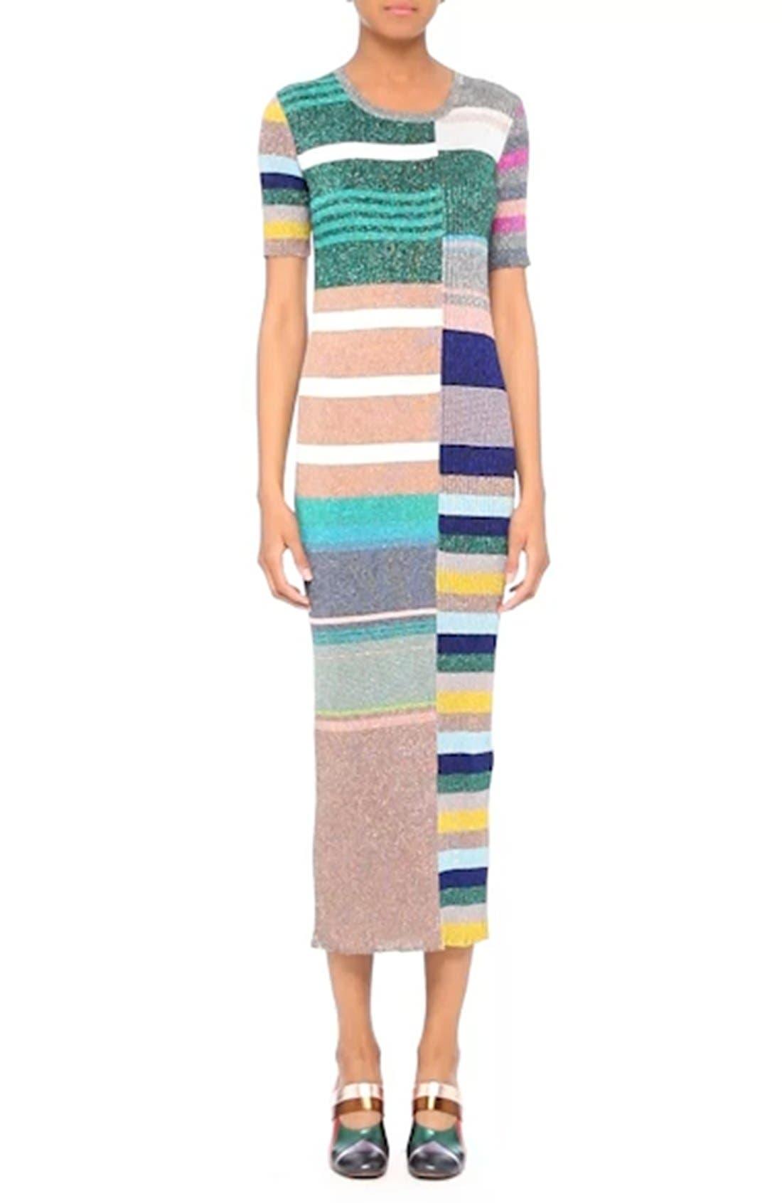 Metallic Stripe Rib Knit Dress,                             Alternate thumbnail 7, color,                             001