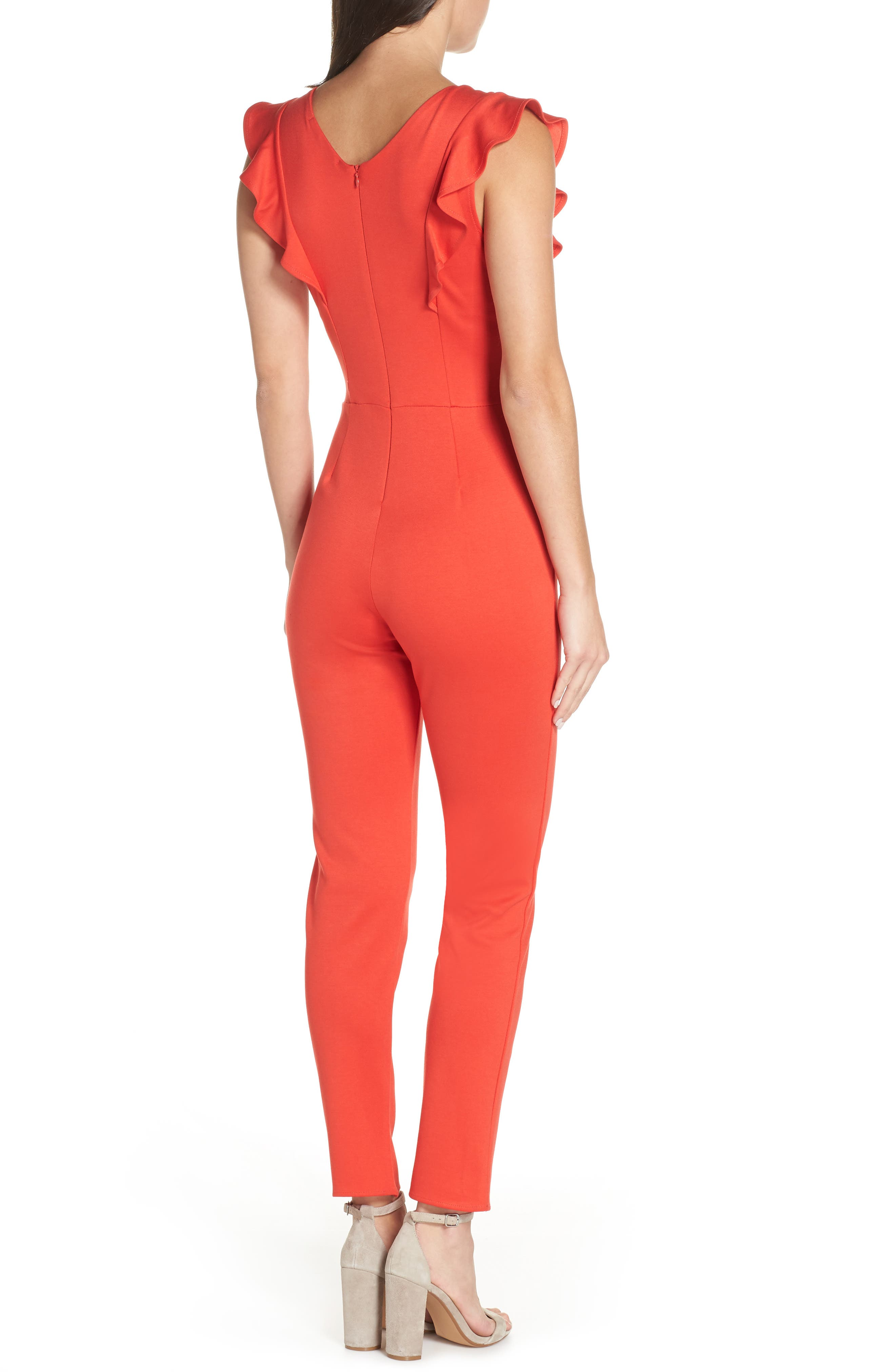 FRAICHE BY J,                             V-Neck Ruffle Jumpsuit,                             Alternate thumbnail 2, color,                             RED