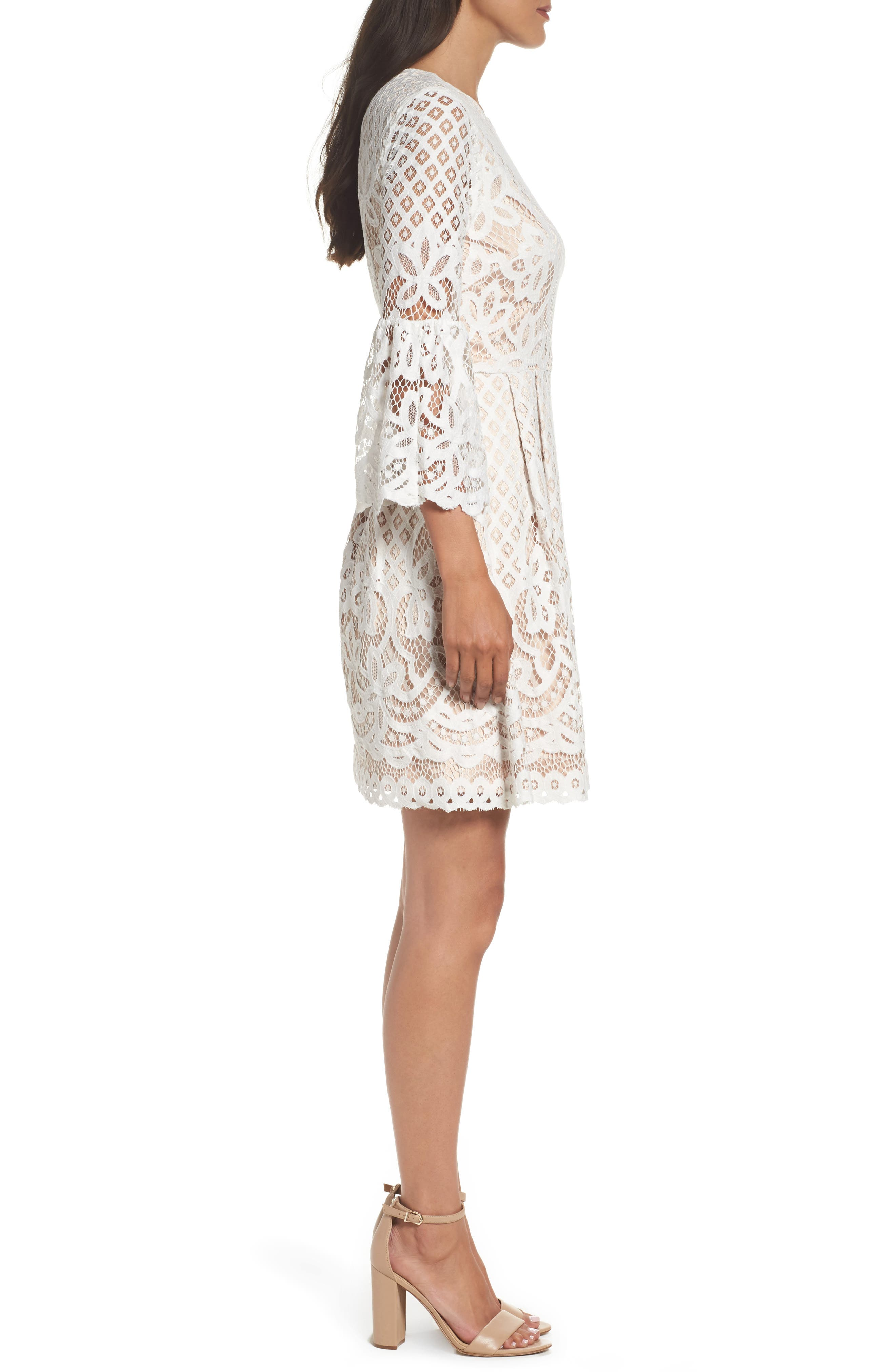 Bell Sleeve Fit & Flare Dress,                             Alternate thumbnail 4, color,                             IVORY