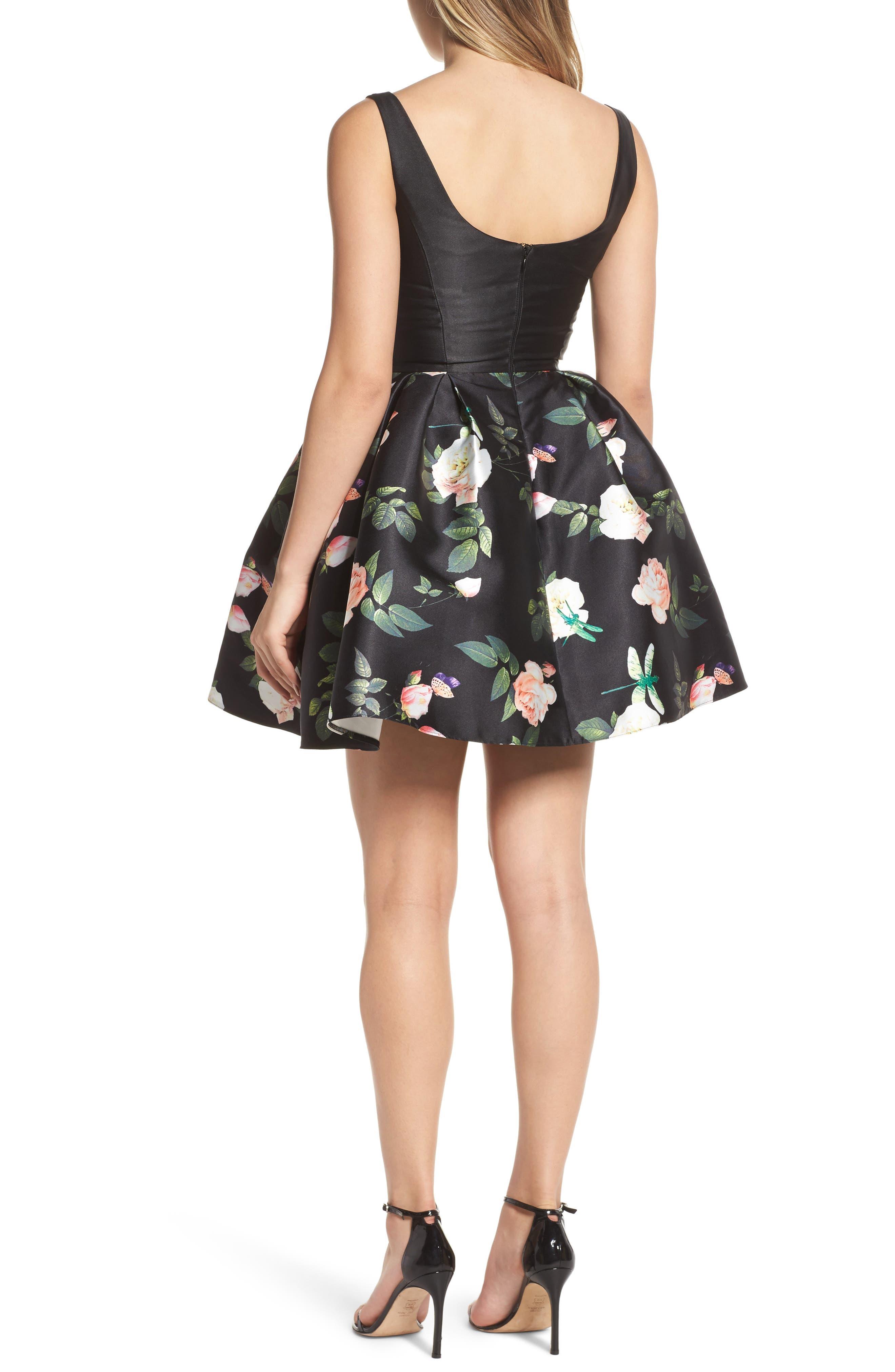 Floral Fit & Flare Dress,                             Alternate thumbnail 2, color,                             001