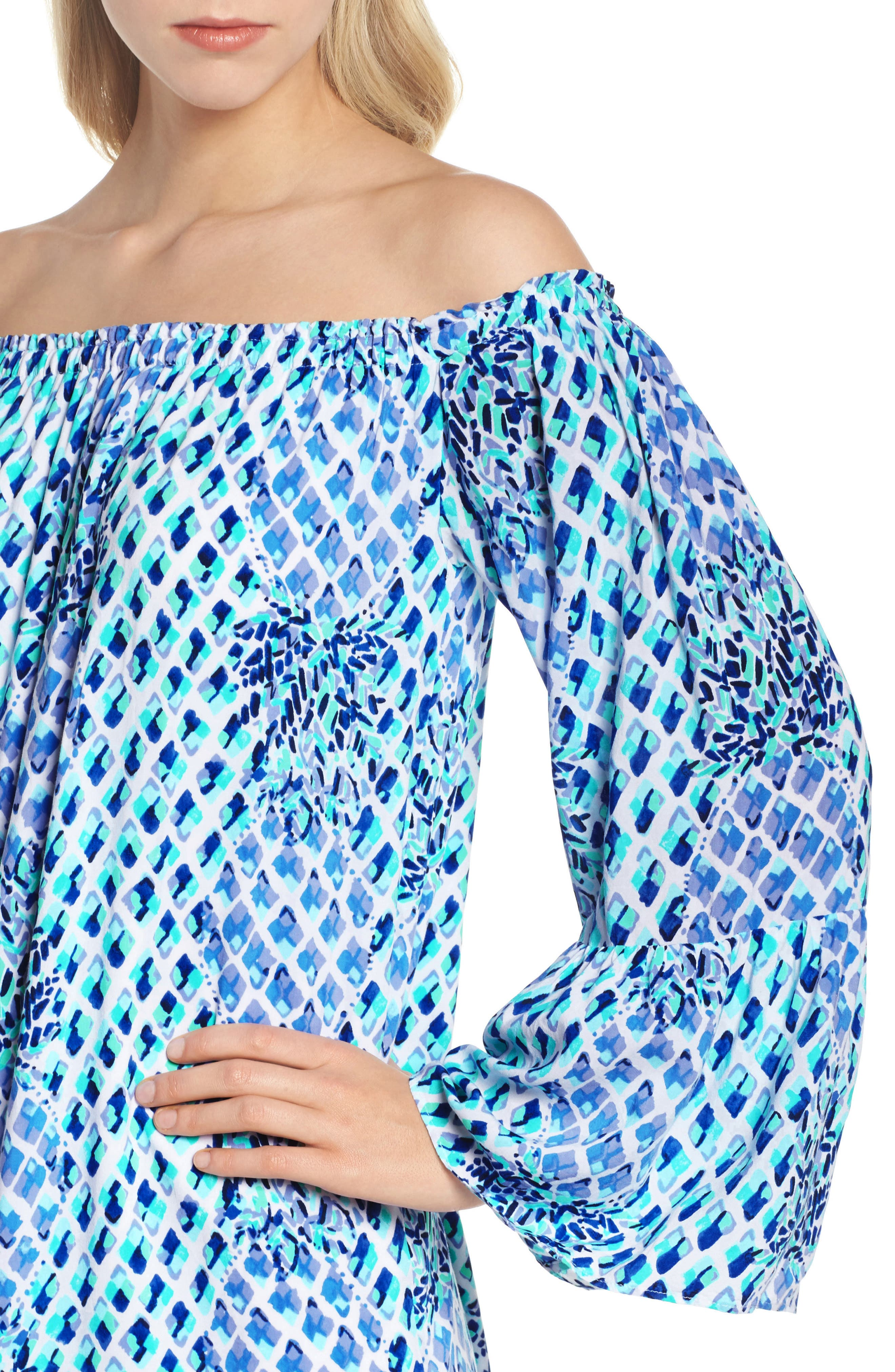 Lilly Pullitzer<sup>®</sup> Nevie Off the Shoulder Dress,                             Alternate thumbnail 4, color,