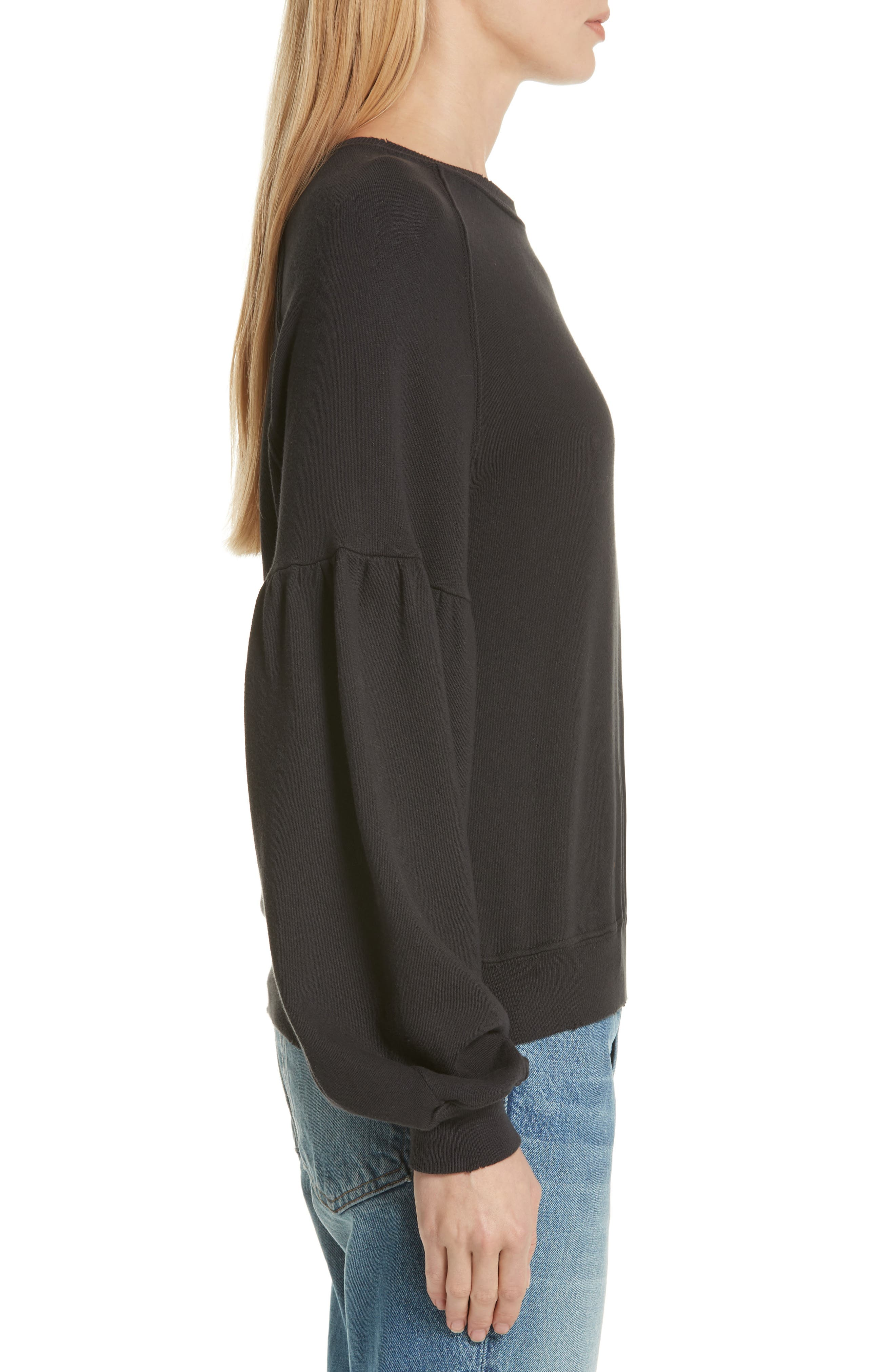 THE GREAT.,                             The Bishop Sleeve Sweatshirt,                             Alternate thumbnail 3, color,                             ALMOST BLACK