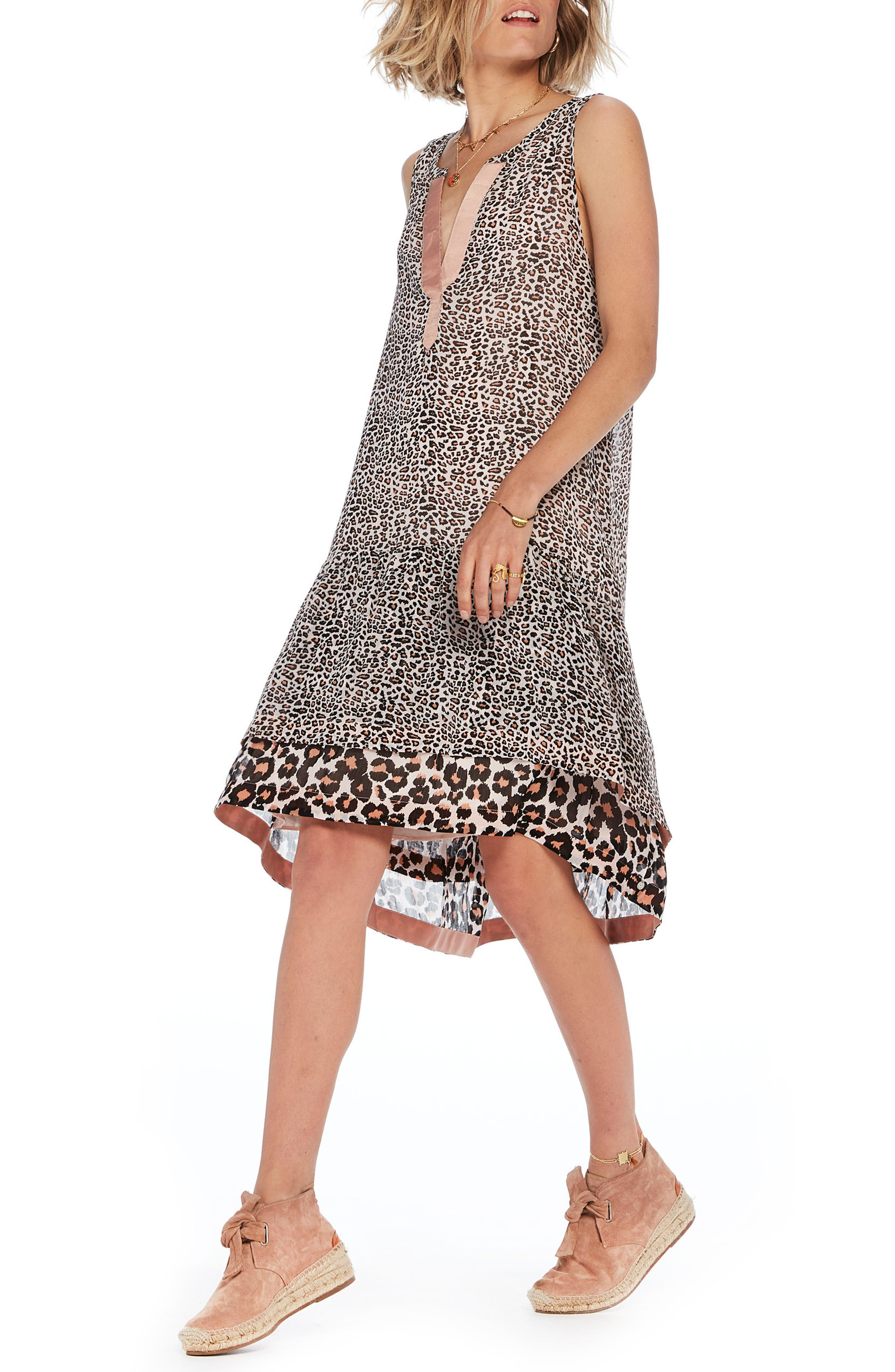 Animal Print Shift Dress,                         Main,                         color, 200