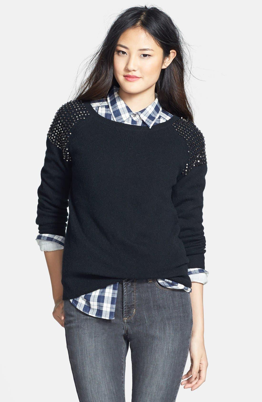 Embellished Shoulder Cashmere Sweater,                             Main thumbnail 1, color,                             001