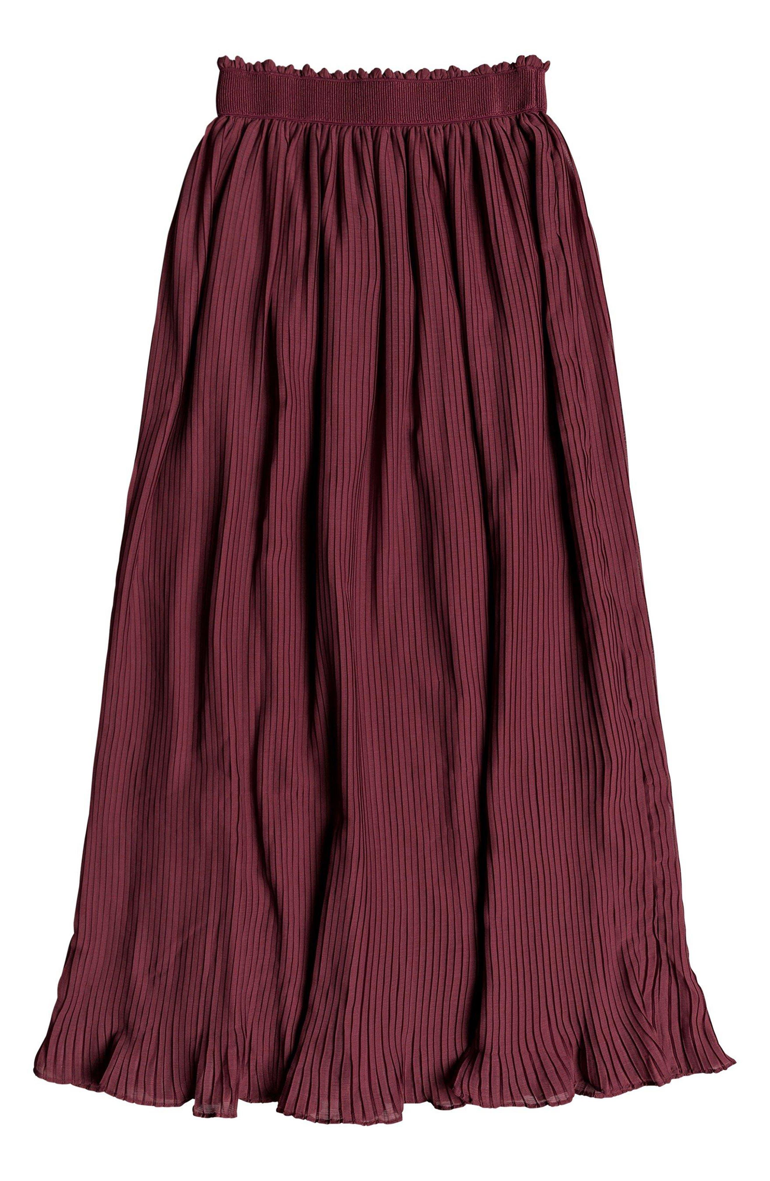 ROXY,                             Green Canyon Midi Skirt,                             Alternate thumbnail 4, color,                             OXBLOOD RED