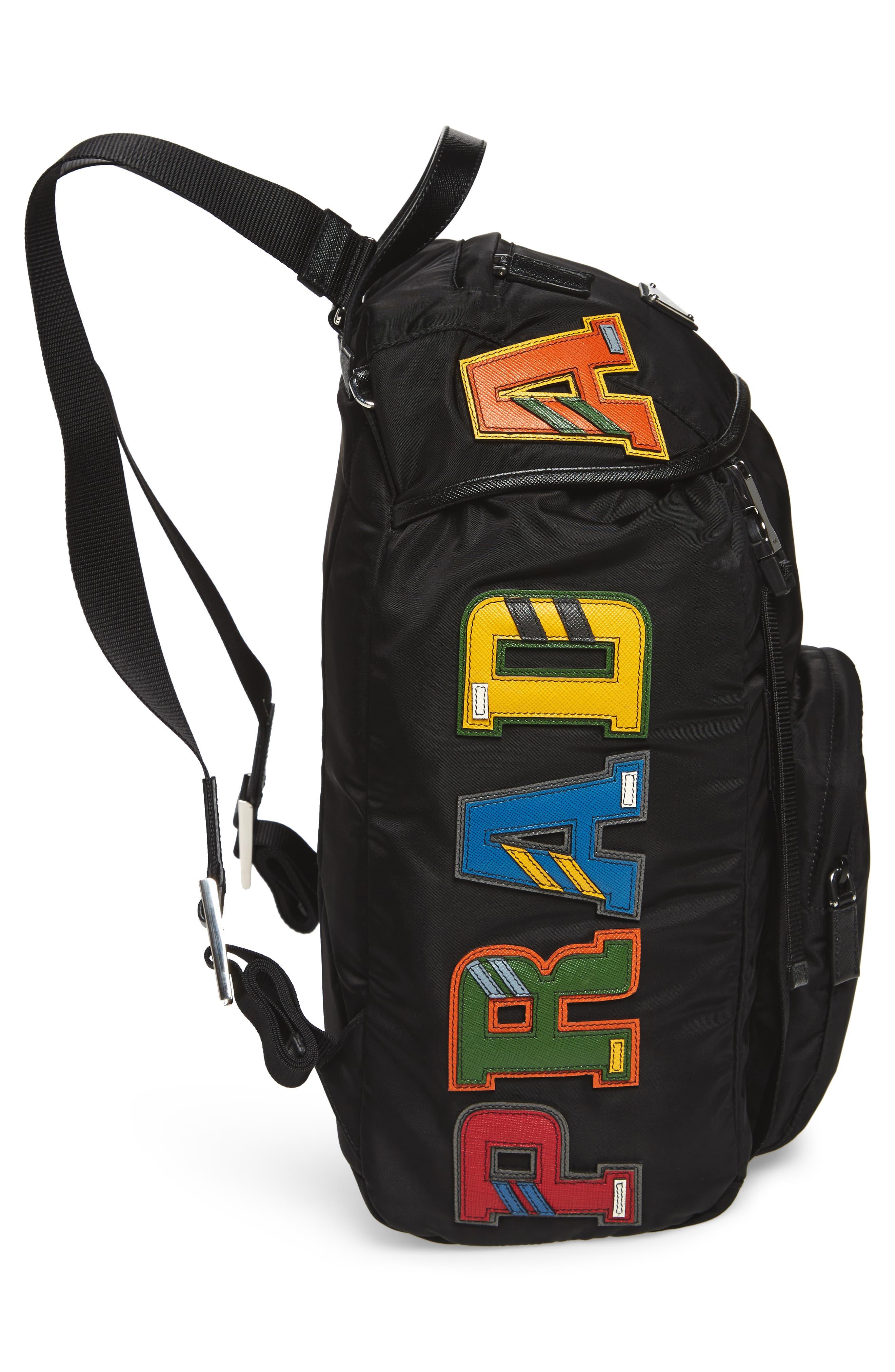 PRADA,                             Tessuto Lettering Unisex Nylon Backpack,                             Alternate thumbnail 5, color,                             001