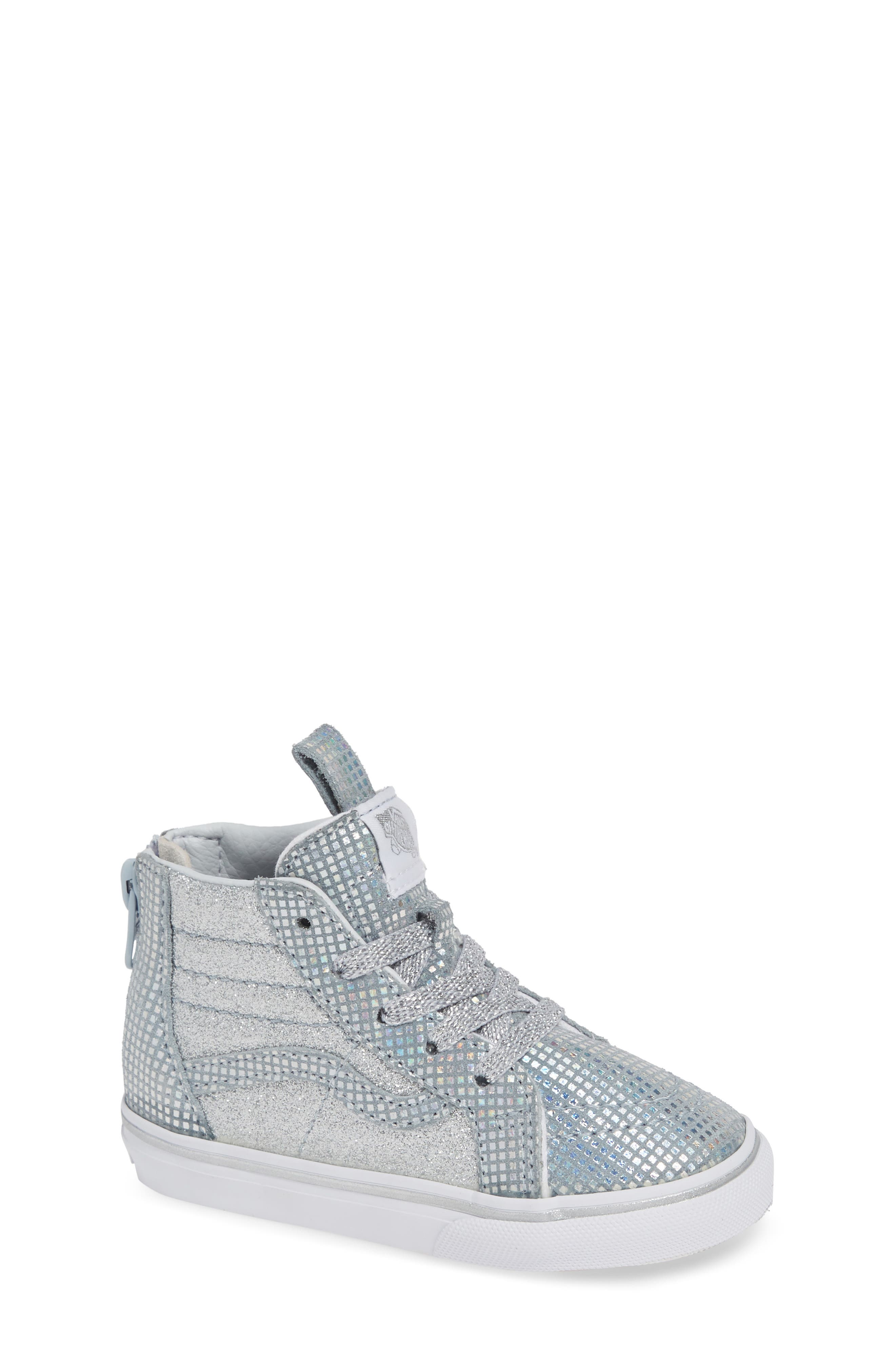 SK8-Hi Zip Sparkle Sneaker,                             Main thumbnail 1, color,                             METALLIC SILVER GLITTER