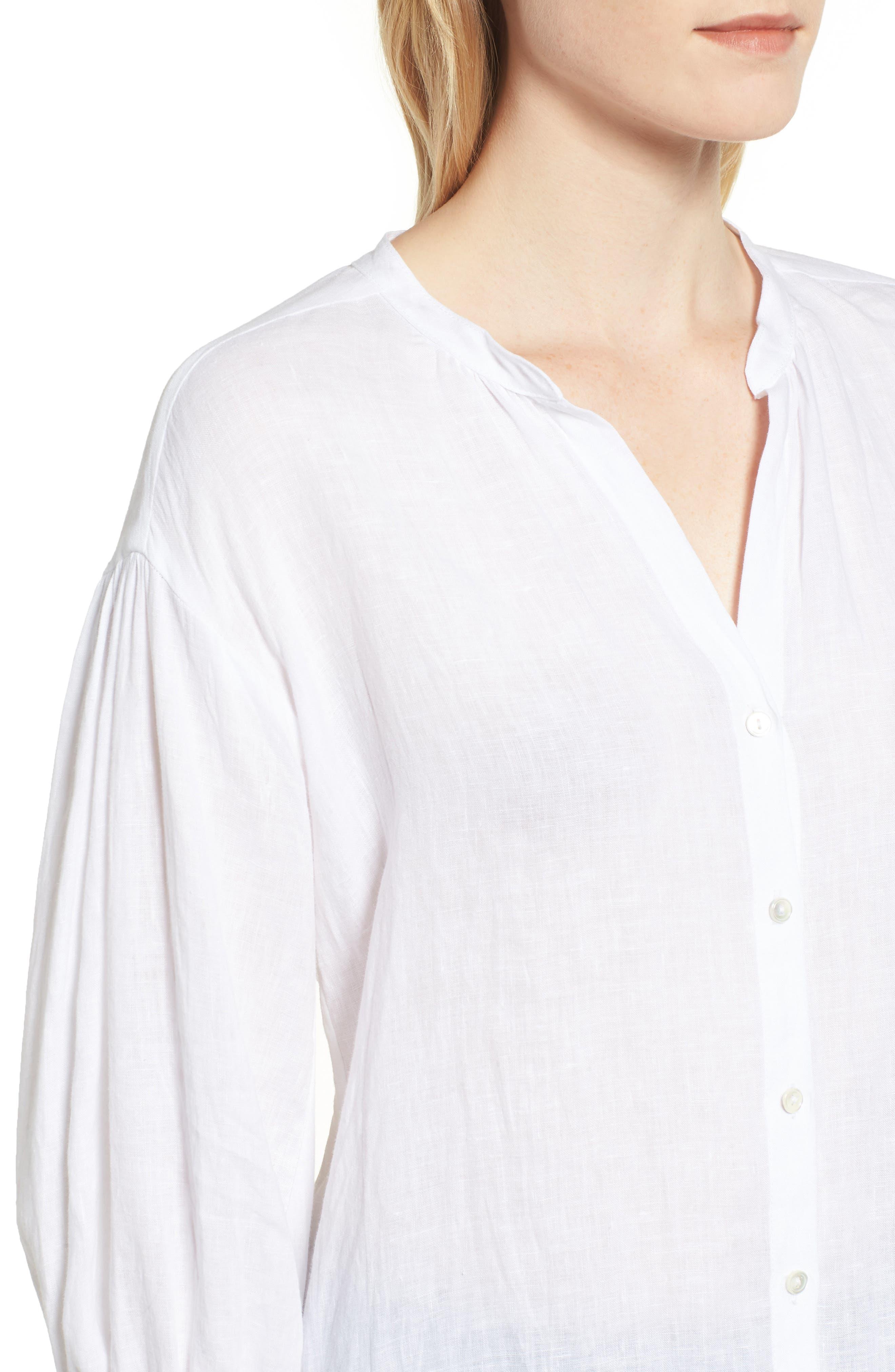 Linen Shirt,                             Alternate thumbnail 4, color,                             WHITE