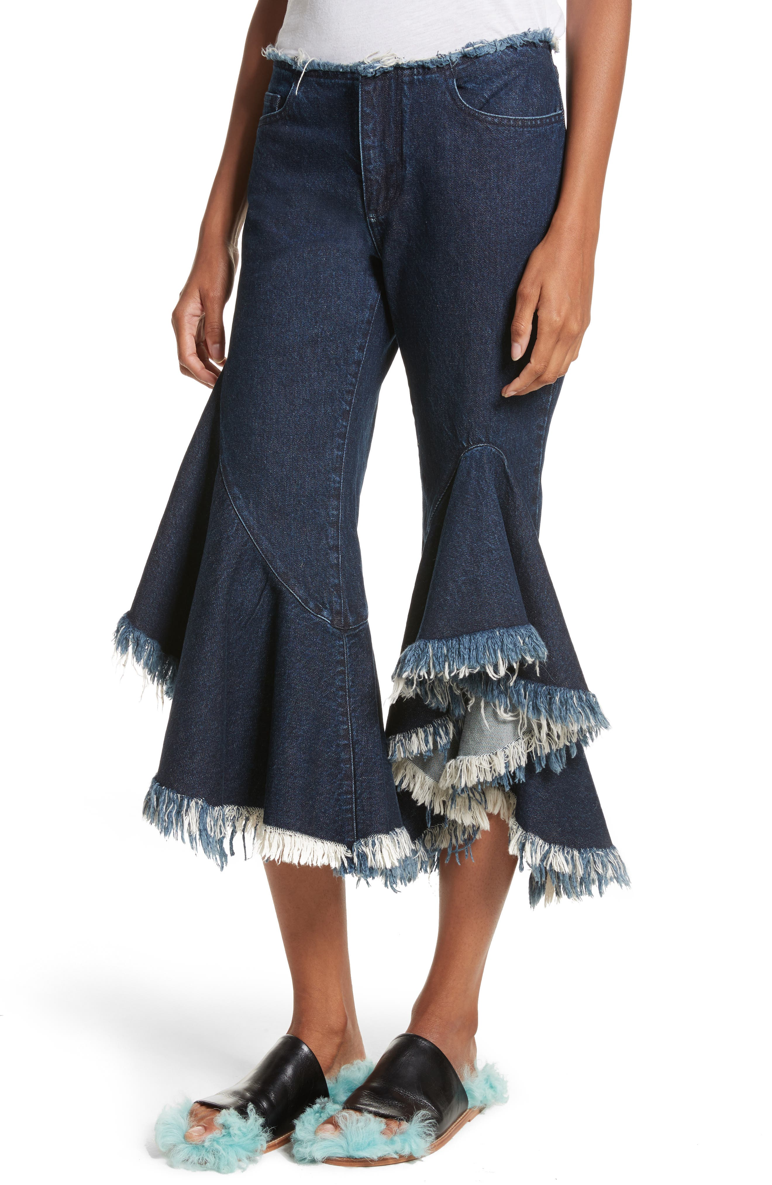 Marques'Almeida Frill Flare Crop Jeans,                             Alternate thumbnail 4, color,                             400