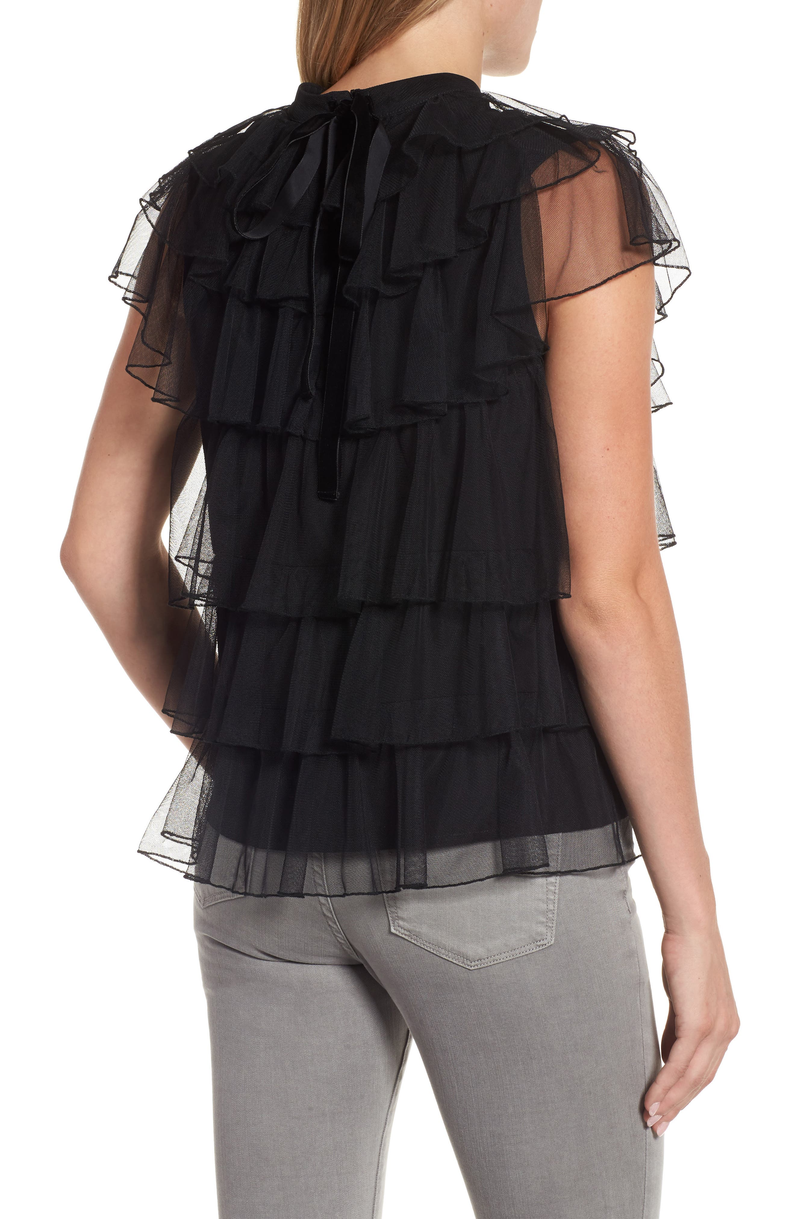 Tie Back Tiered Mesh Top,                             Alternate thumbnail 2, color,                             001