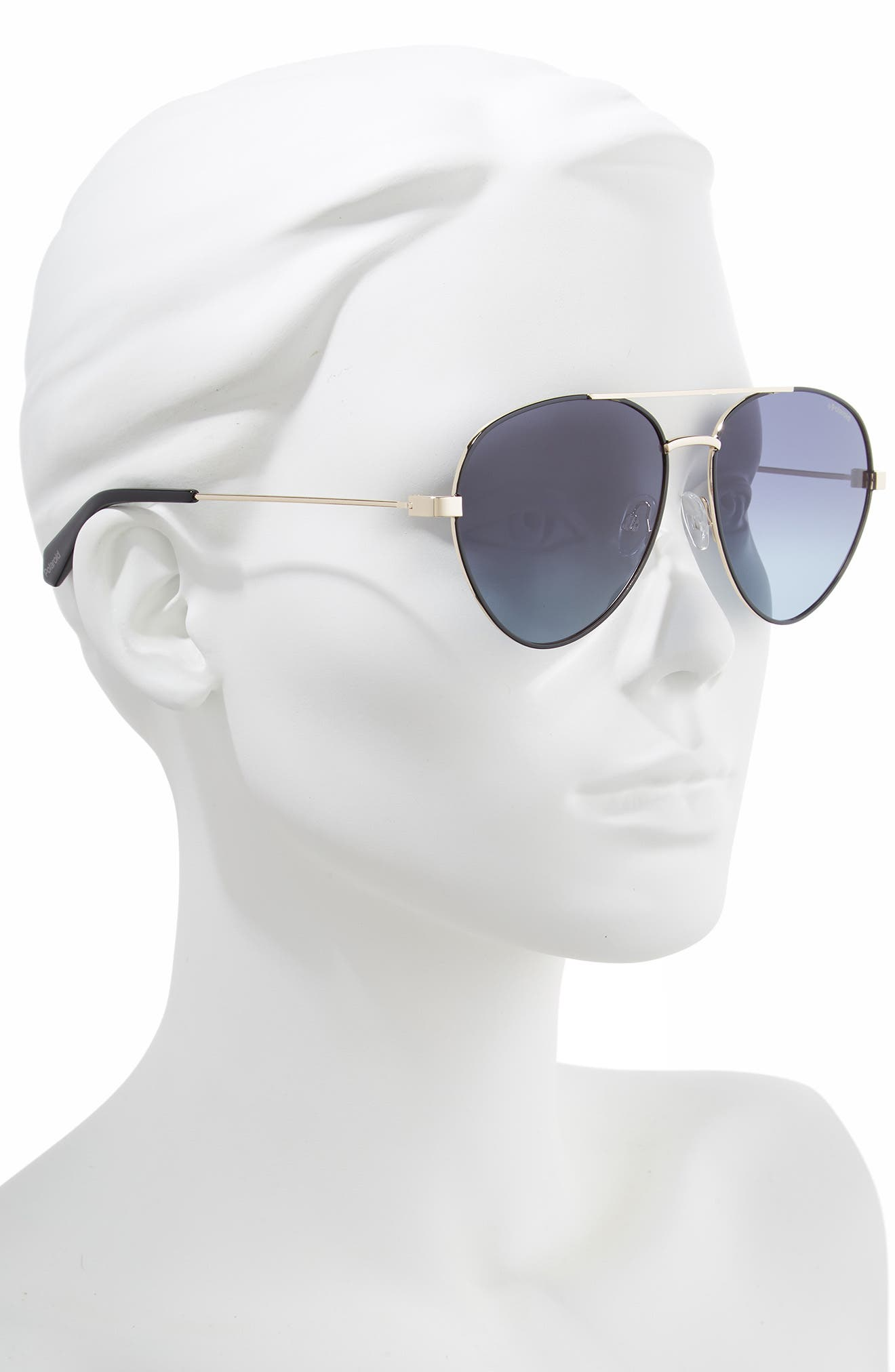 POLAROID EYEWEAR,                             Polaroid 59mm Polarized Aviator Sunglasses,                             Alternate thumbnail 2, color,                             BLACK