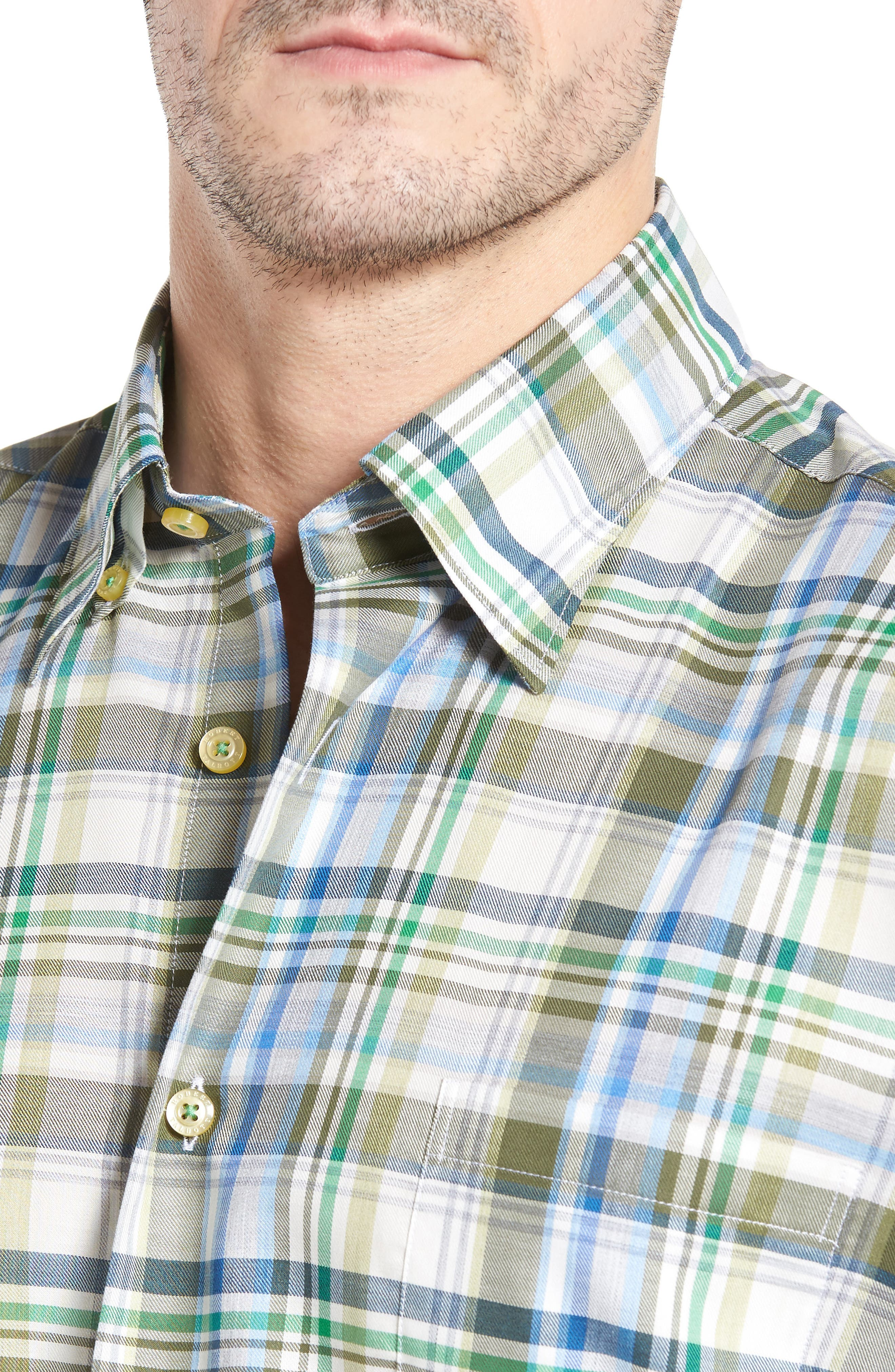 Anderson Classic Fit Plaid Micro Twill Sport Shirt,                             Alternate thumbnail 4, color,                             300