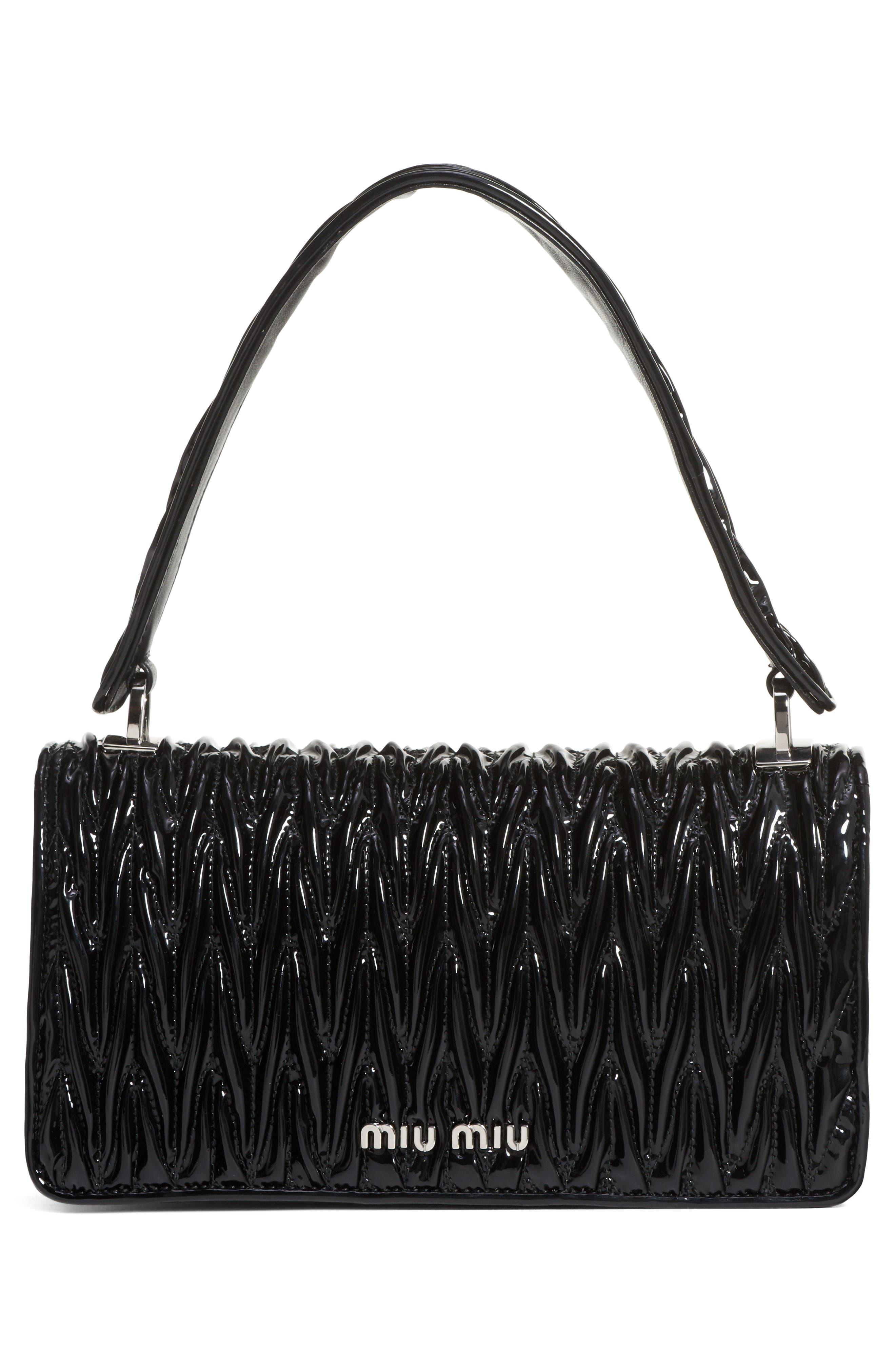 Vernice Matelassé Quilted Leather Shoulder Bag,                             Alternate thumbnail 3, color,                             NERO